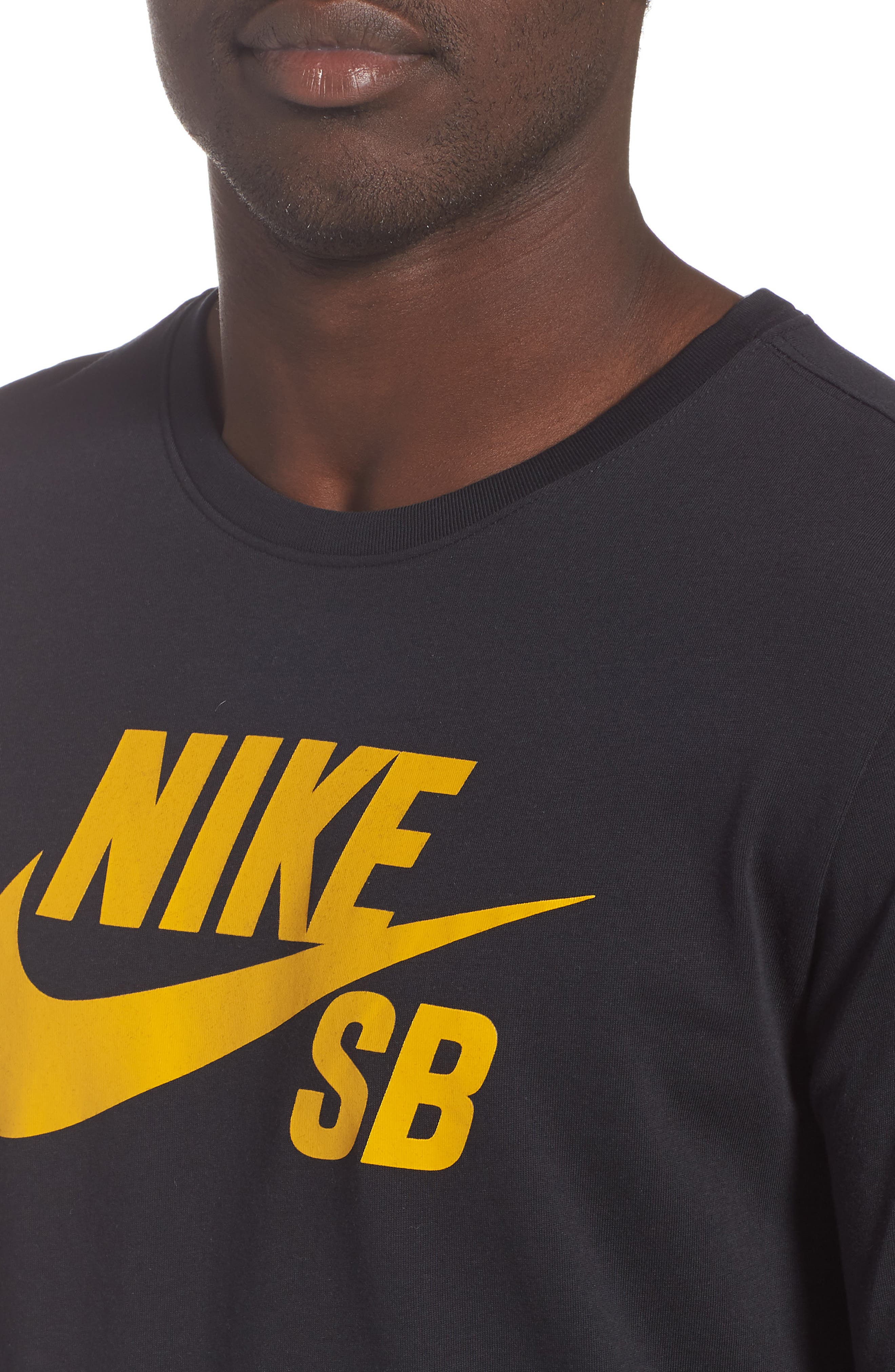 Nike 'SB Logo' T-Shirt,                             Alternate thumbnail 4, color,                             BLACK/ YELLOW/ OCHRE