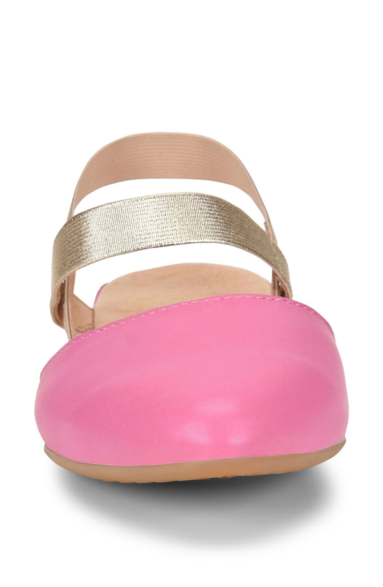 Free Ankle Strap Flat,                             Alternate thumbnail 4, color,                             DARK PINK LEATHER
