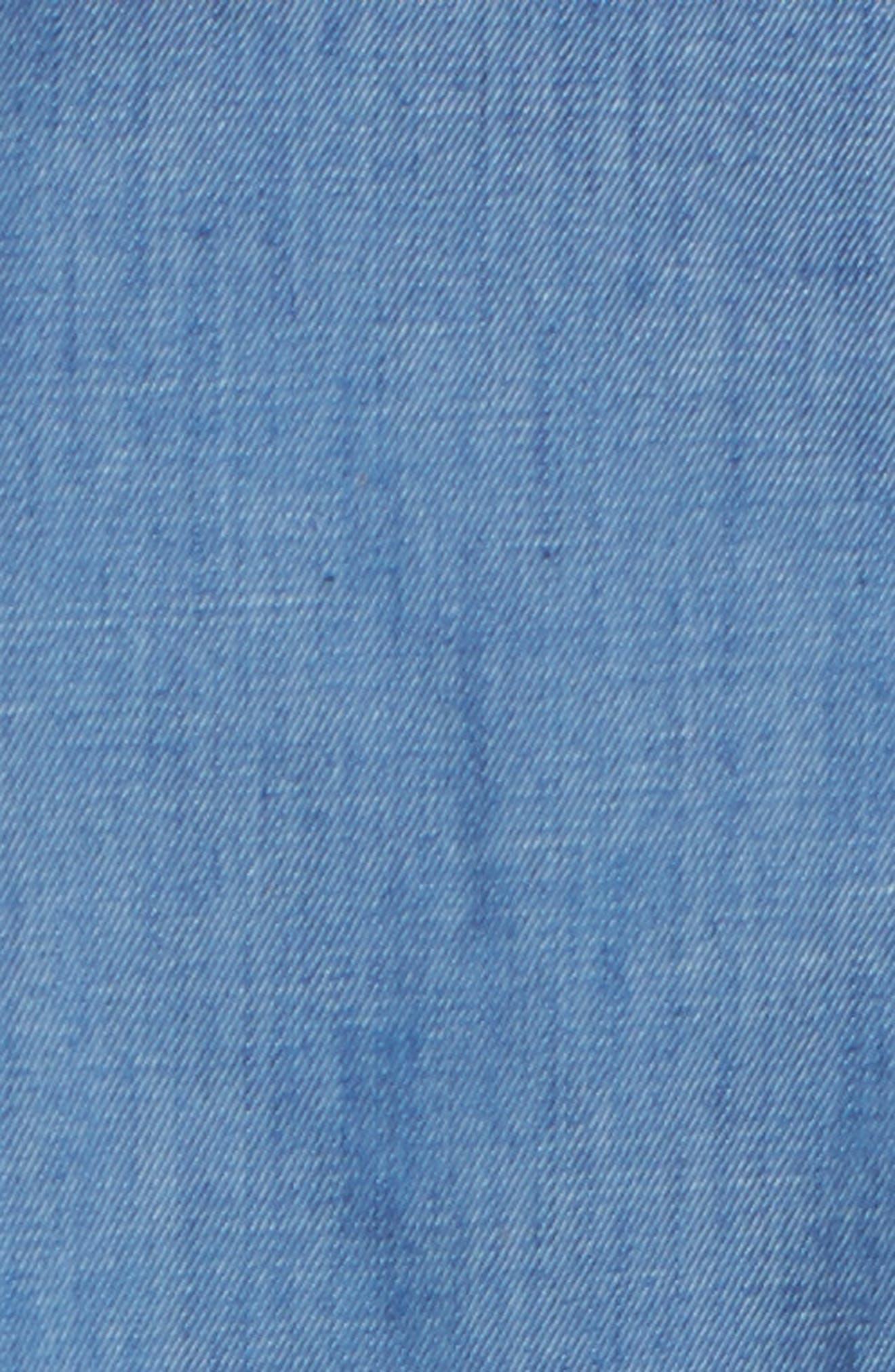 Ruffle Denim Wrap Dress,                             Alternate thumbnail 5, color,                             405