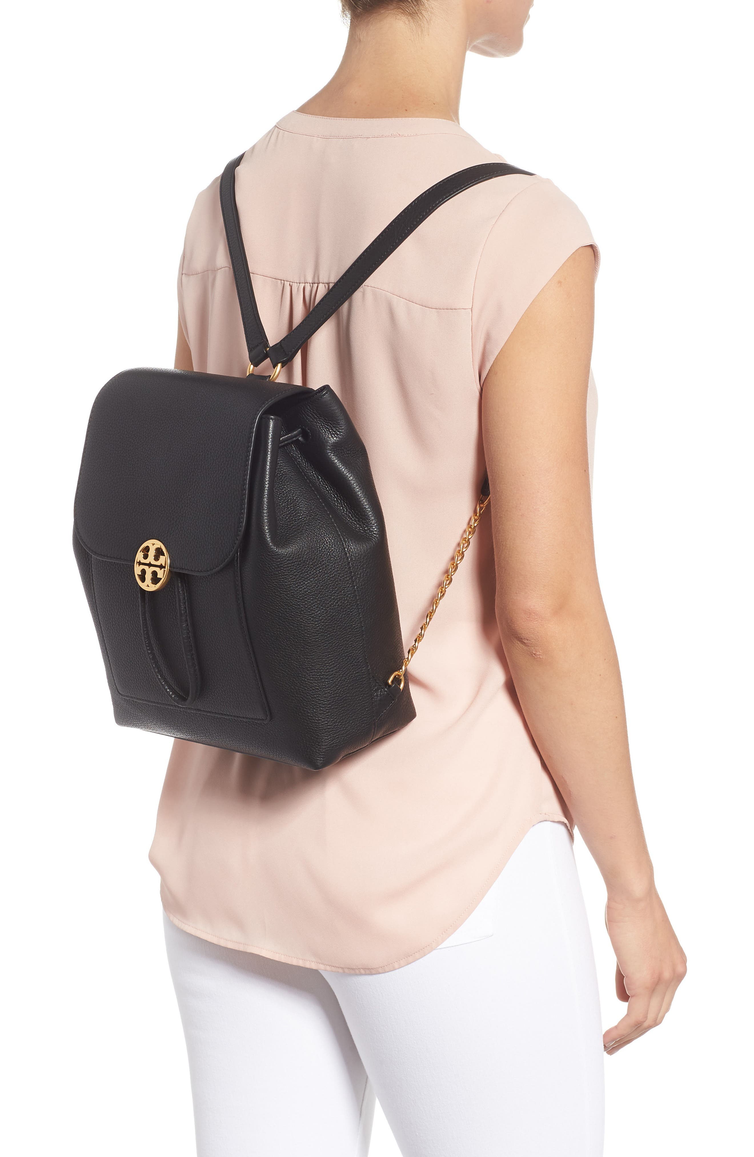 Chelsea Leather Backpack,                             Alternate thumbnail 2, color,                             001