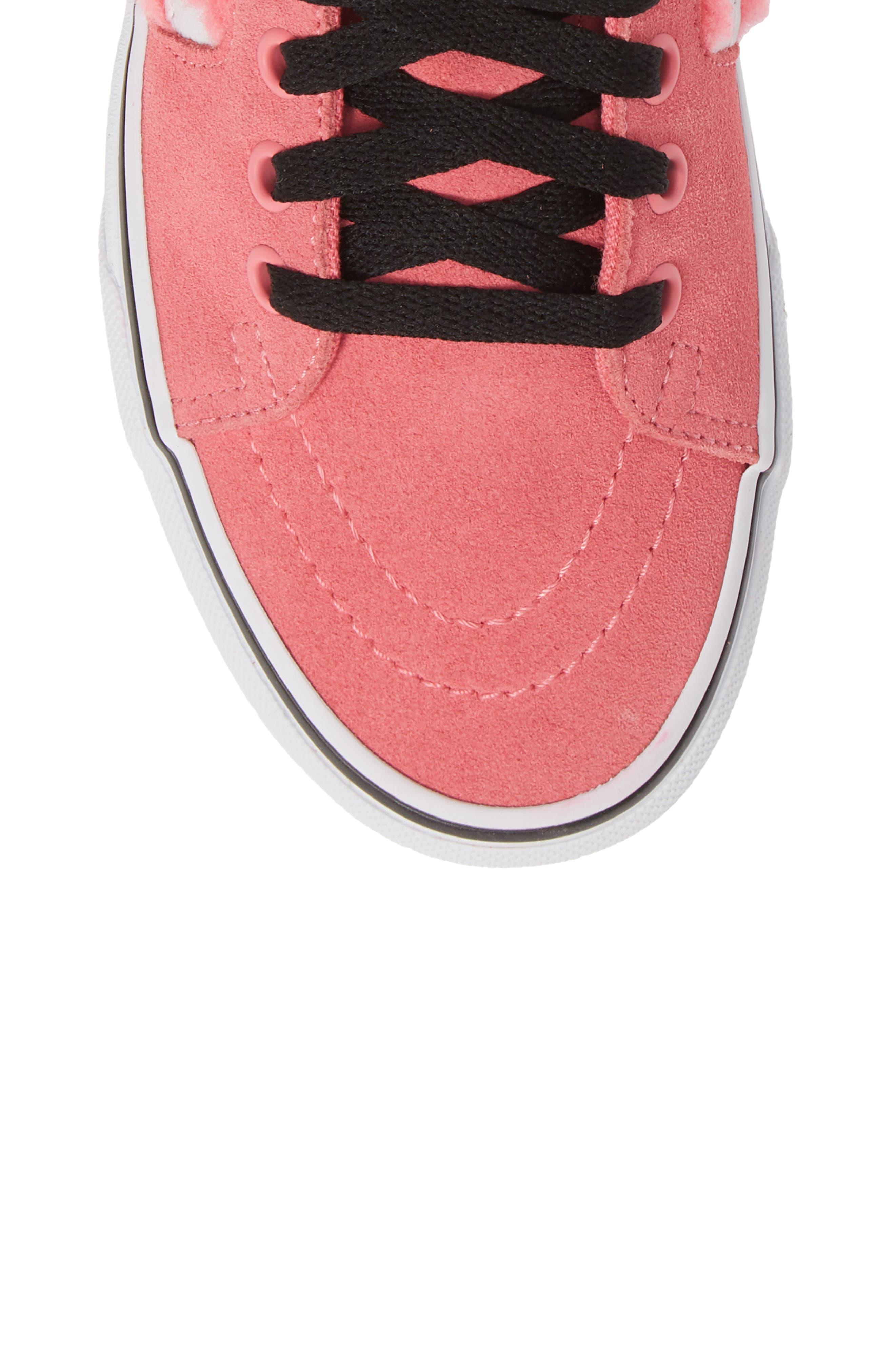 Sk8-Hi Faux Shearling High Top Sneaker,                             Alternate thumbnail 5, color,                             PINK LEMONADE