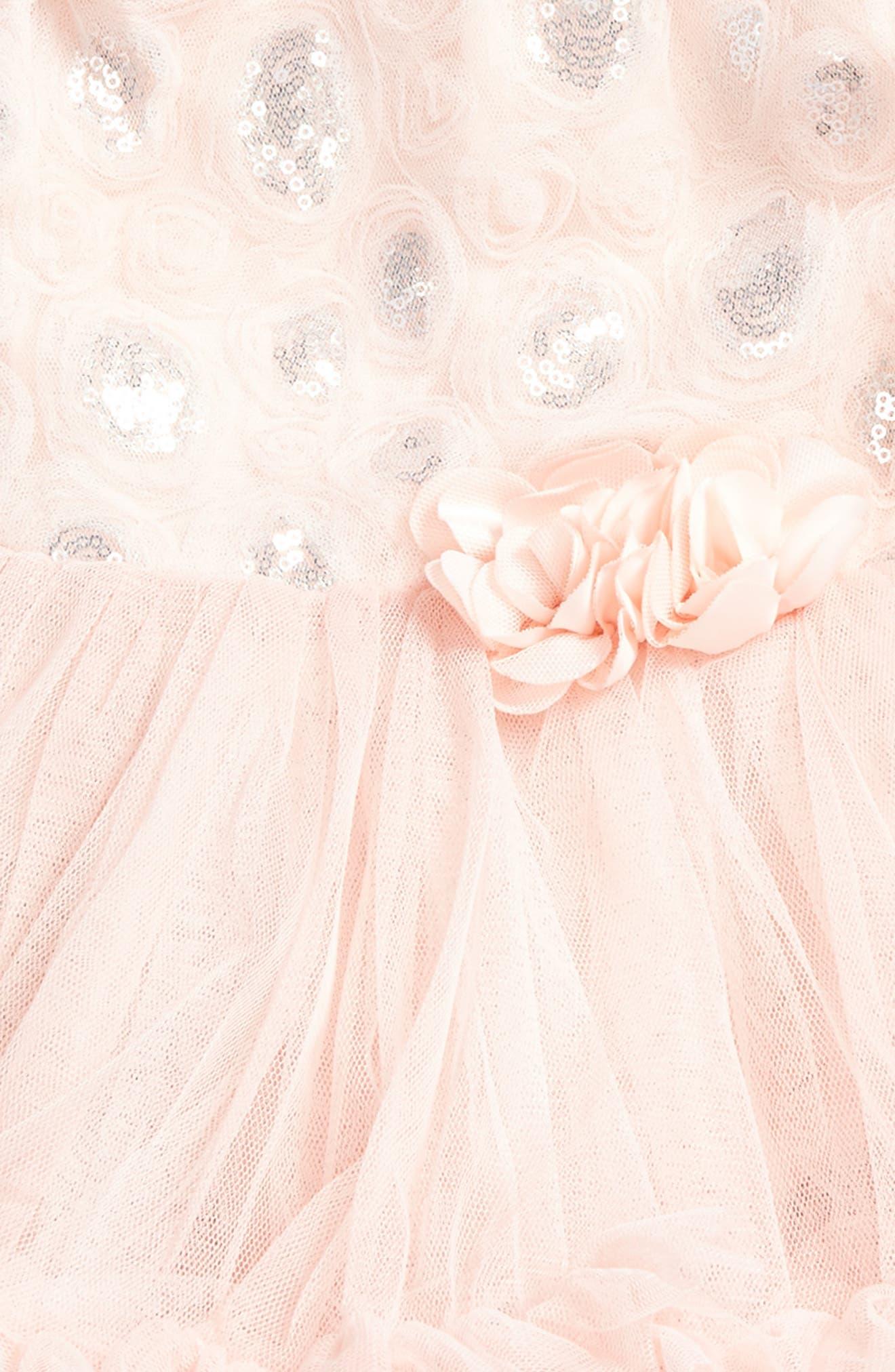 POPATU Rosette Sequin Dress, Main, color, DUSTY PINK