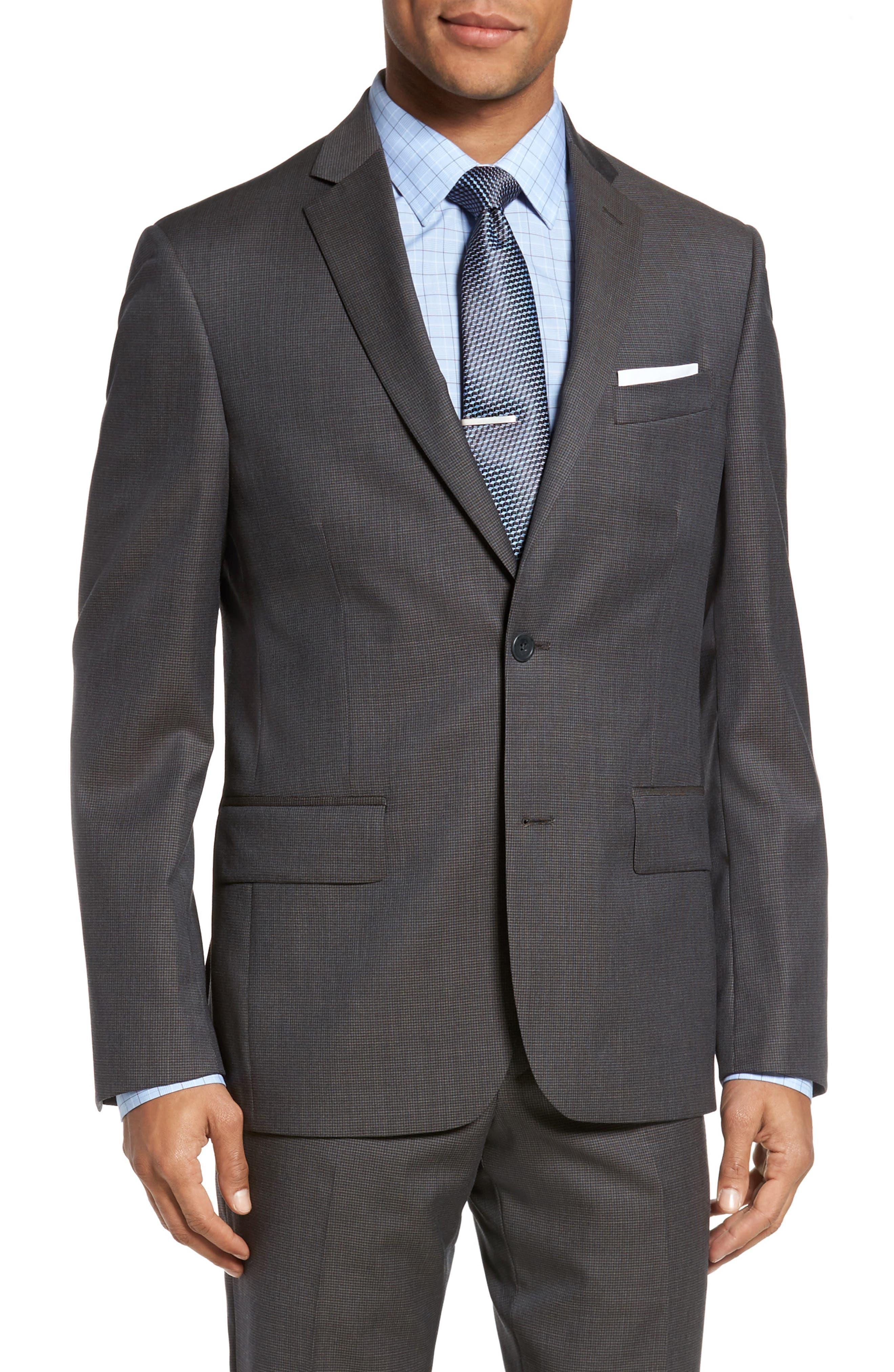 Classic Fit Check Wool Suit,                             Alternate thumbnail 18, color,