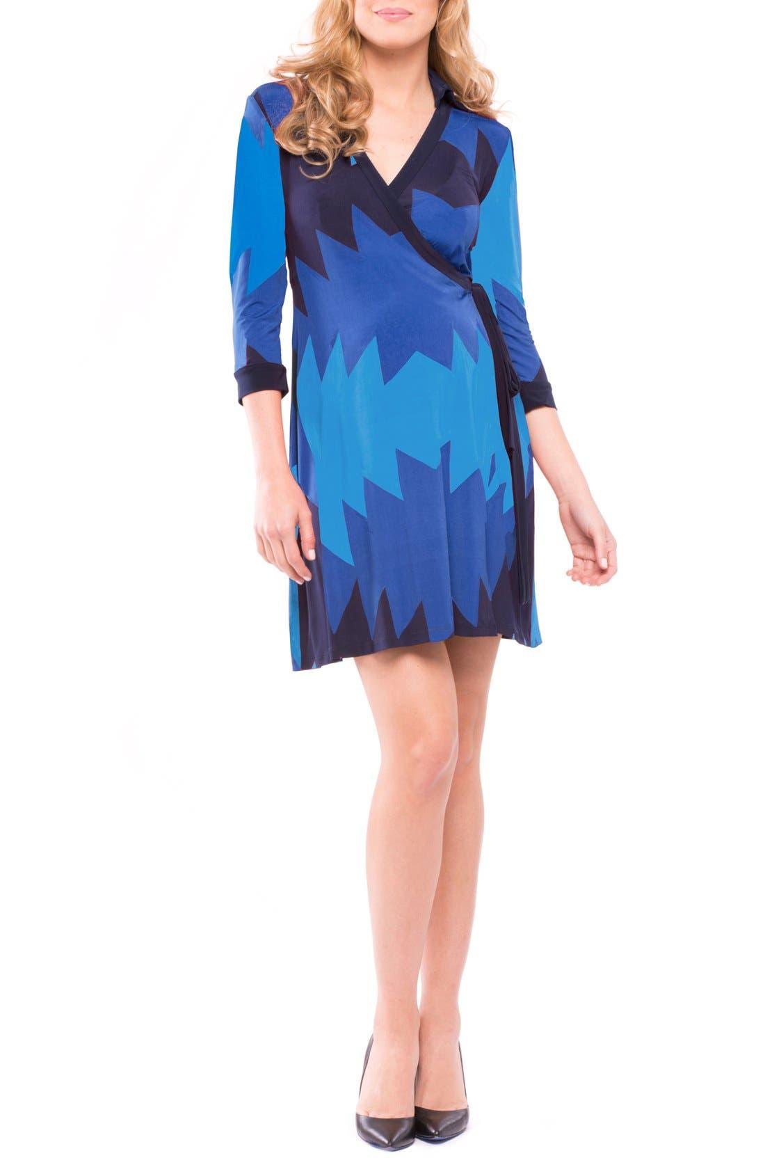 Olivia Maternity Wrap Dress,                         Main,                         color, BLUE AZTEC PRINT