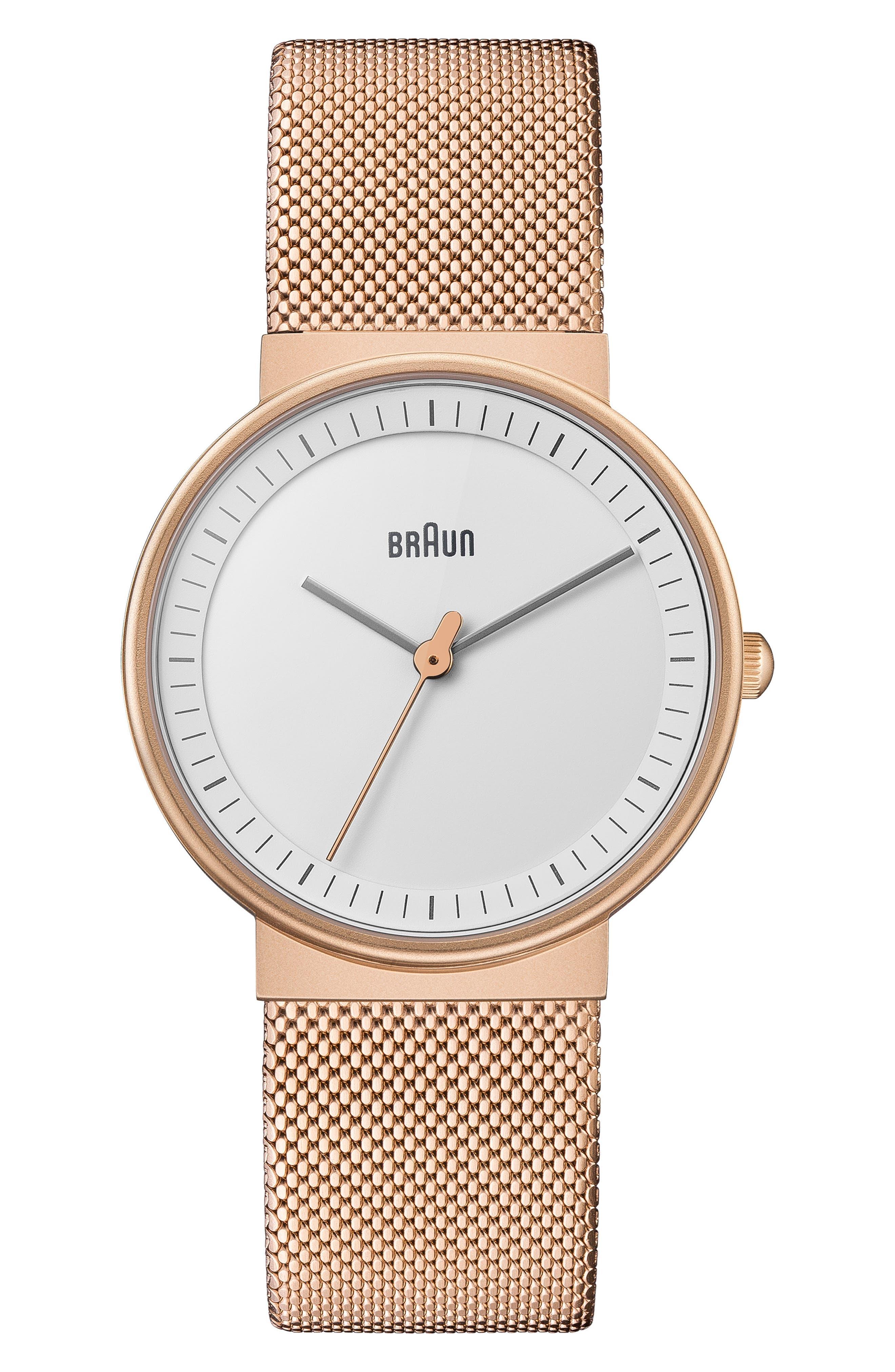 BRAUN Classic Mesh Bracelet Watch, 33Mm in Rose Gold/ White/ Rose Gold