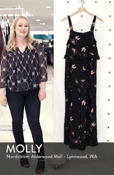 Ruffled Floral Print Jumpsuit, sales video thumbnail