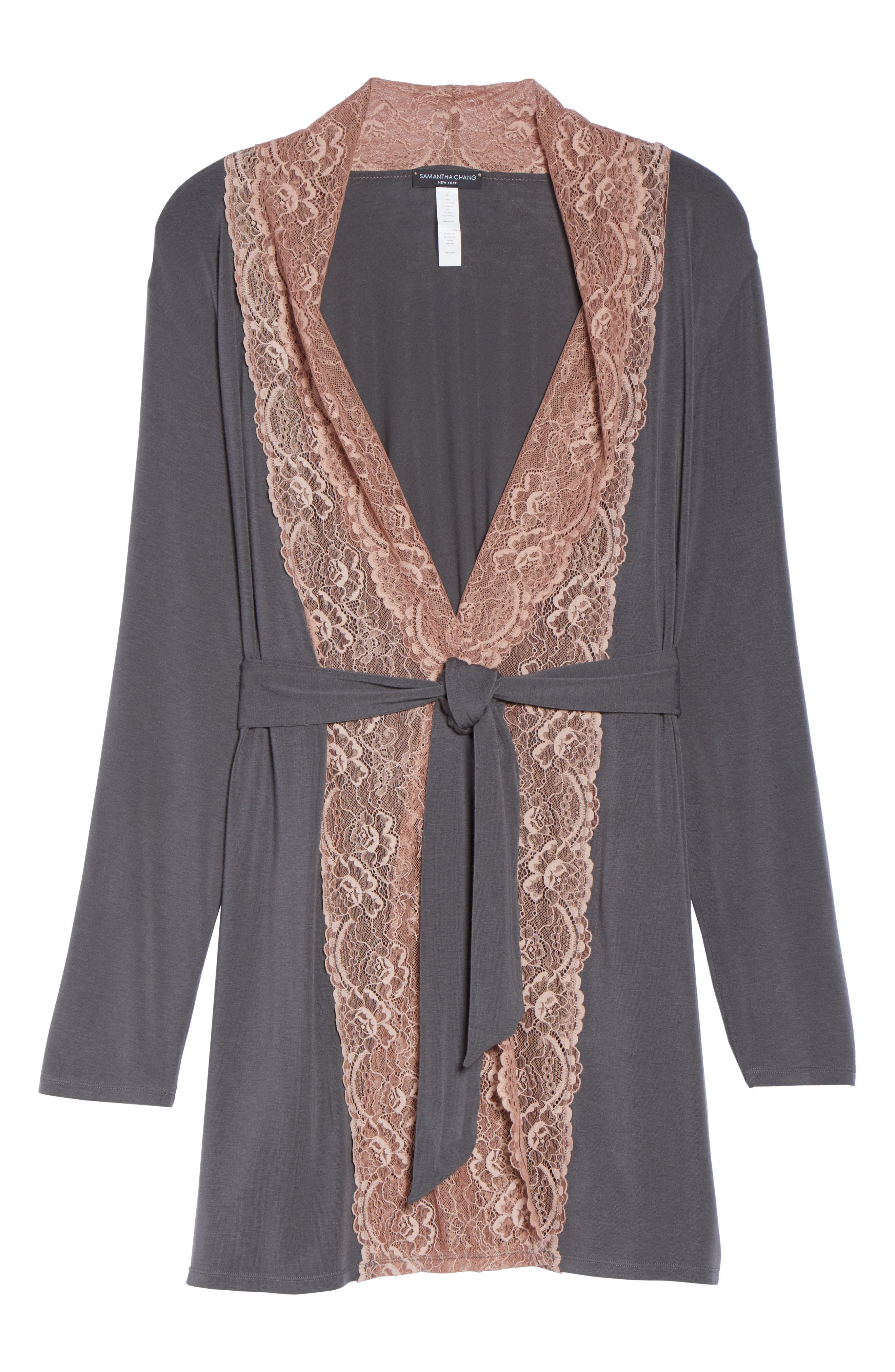 Lace Trim Robe,                             Alternate thumbnail 6, color,                             SLATE WITH JAVA LACE