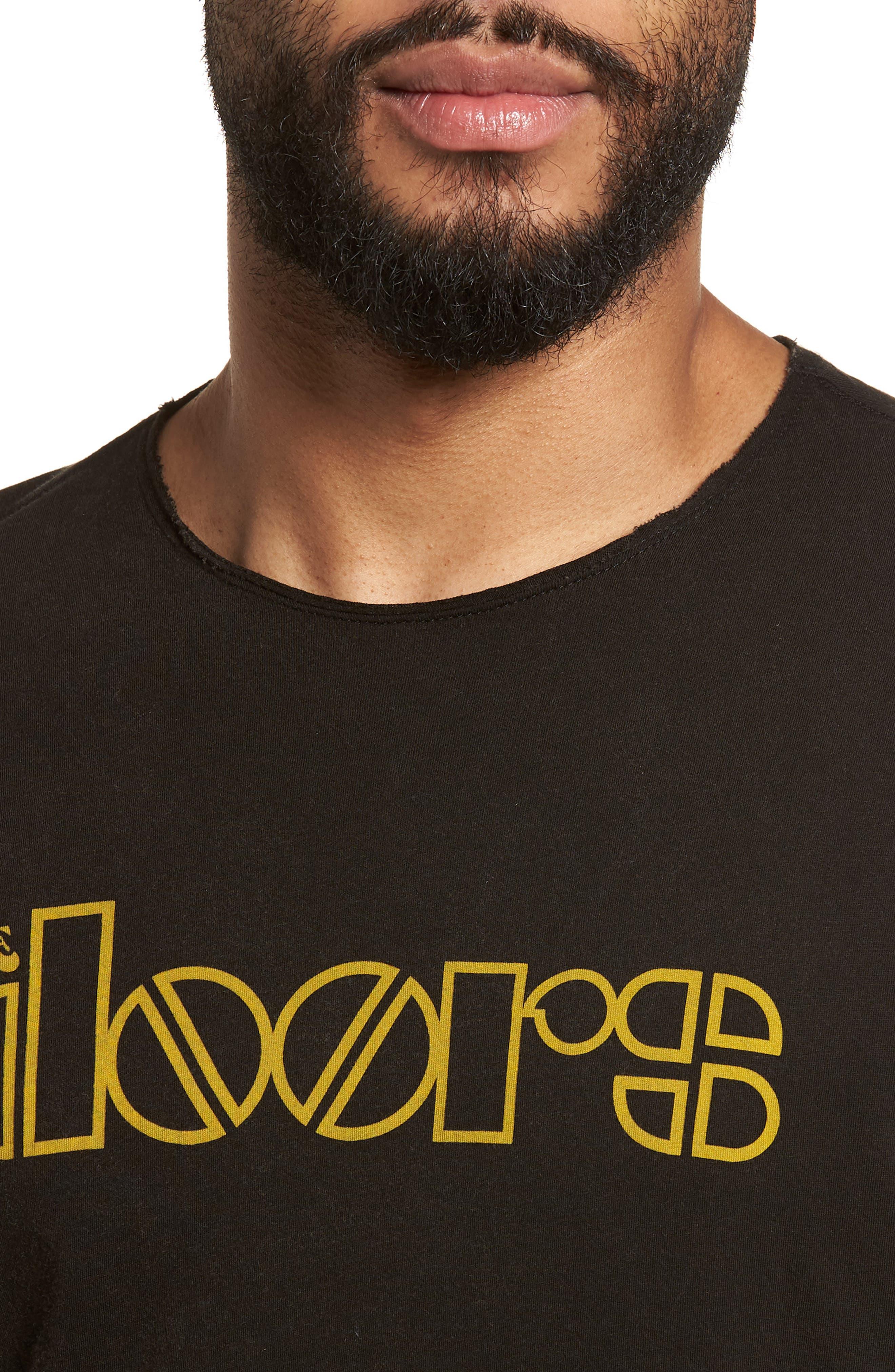 Doors Crewneck T-Shirt,                             Alternate thumbnail 4, color,                             BLACK