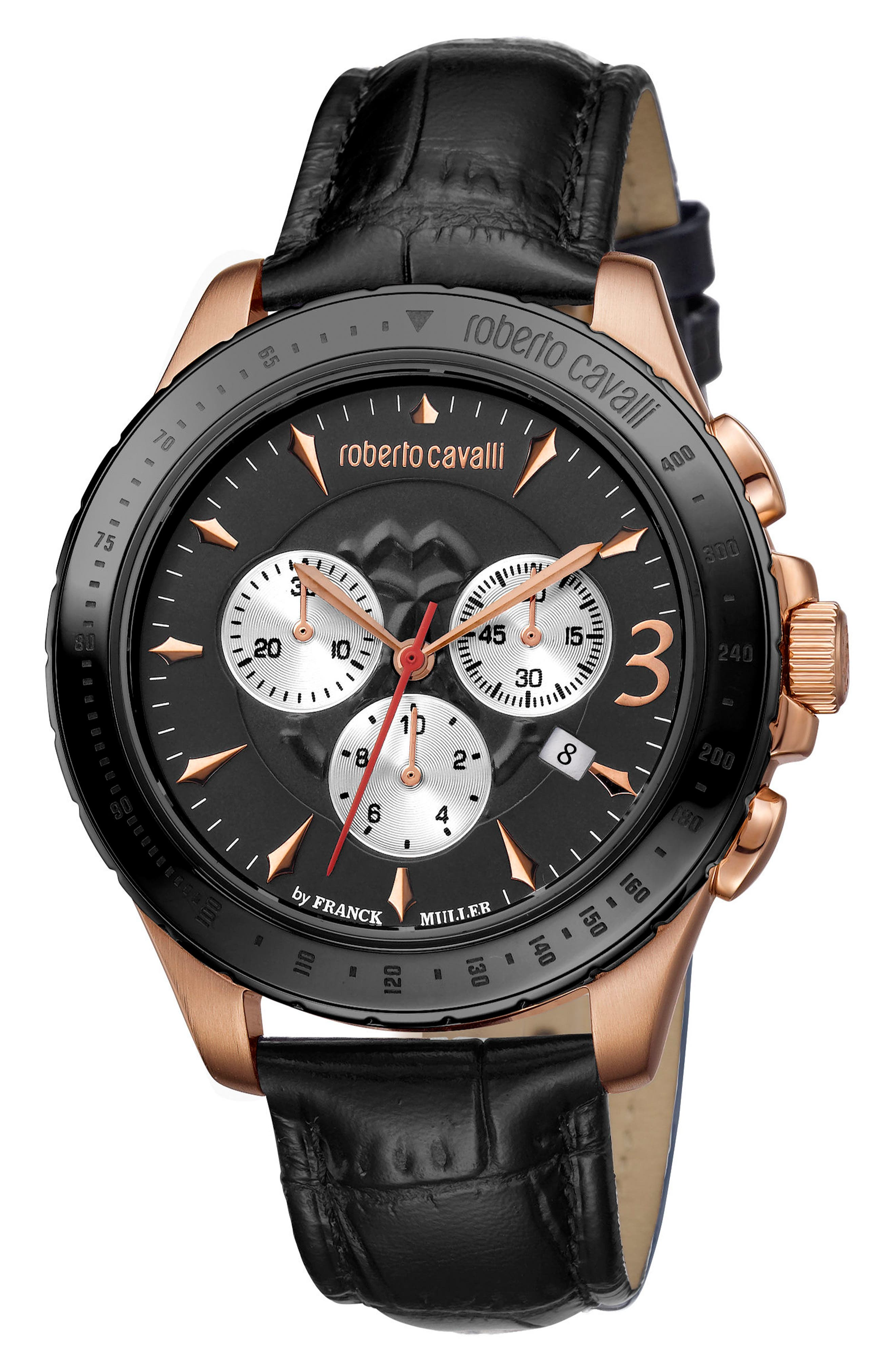 Chronograph Leather Strap Watch, 43mm,                             Main thumbnail 1, color,                             001