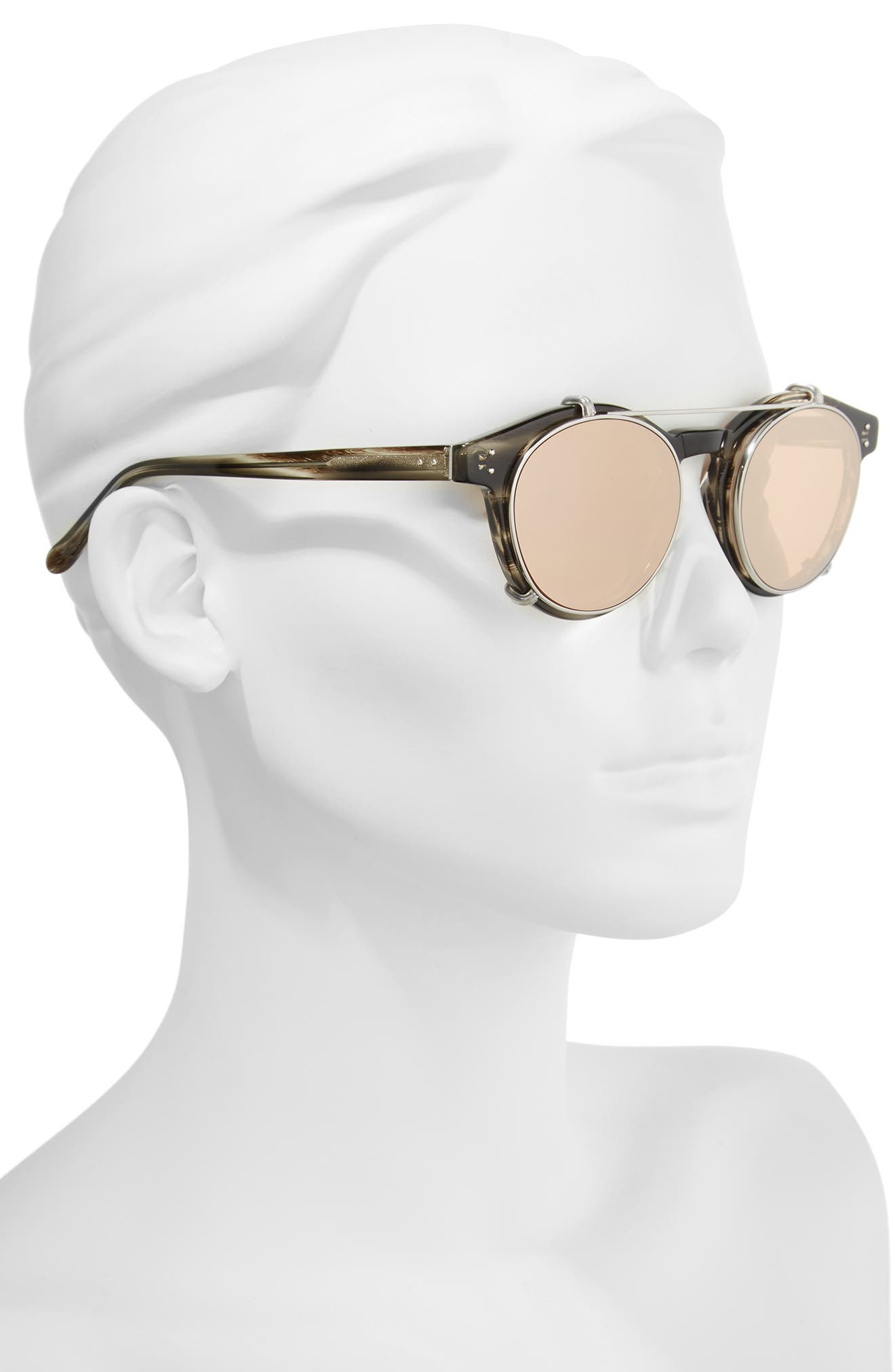 47mm Optical Glasses with Clip-On 18 Karat Rose Gold Trim Sunglasses,                             Alternate thumbnail 3, color,