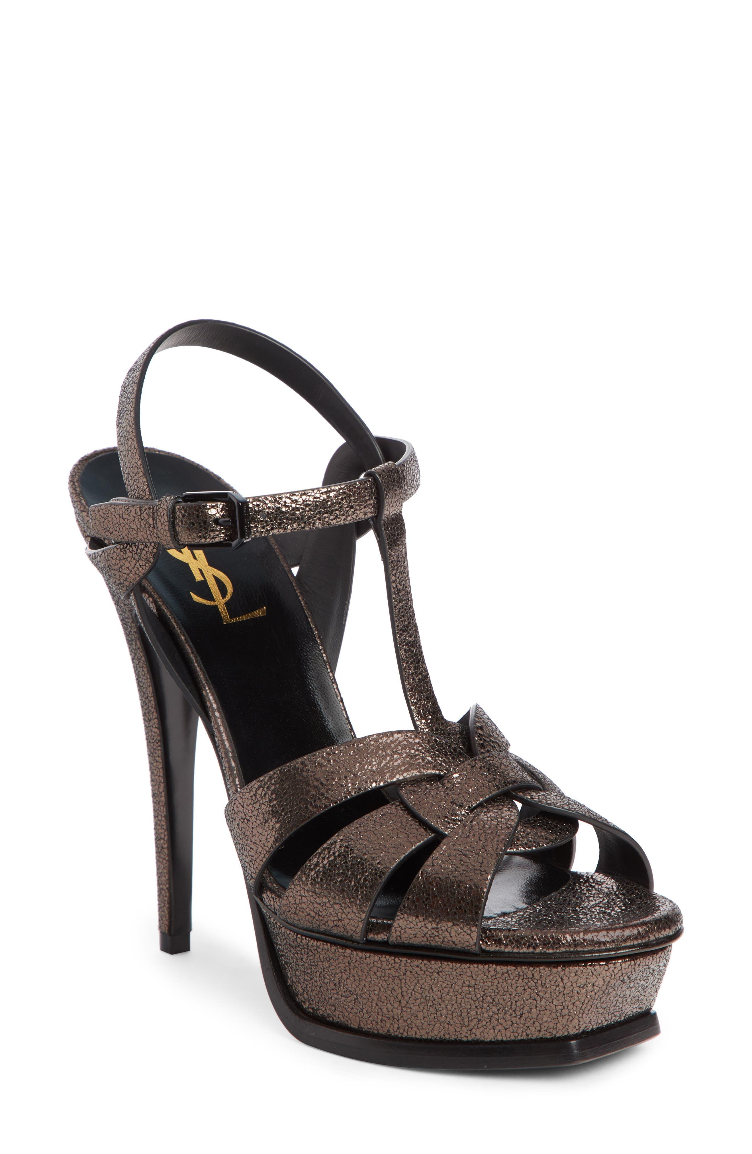 Tribute Speckled Metallic Platform Sandals in Black
