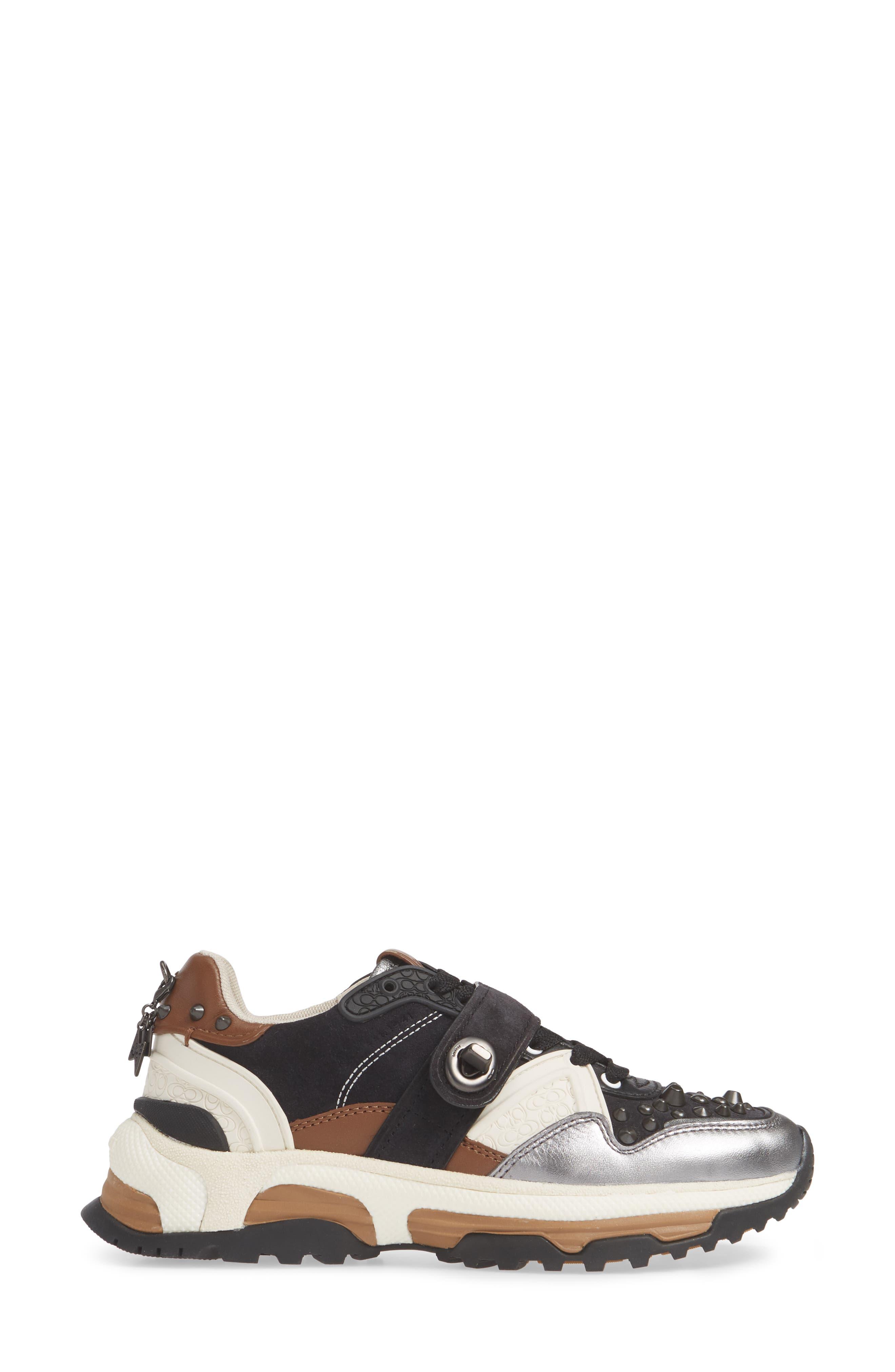 C143 Studded Sneaker,                             Alternate thumbnail 3, color,                             BLACK/ GUNMETAL LEATHER