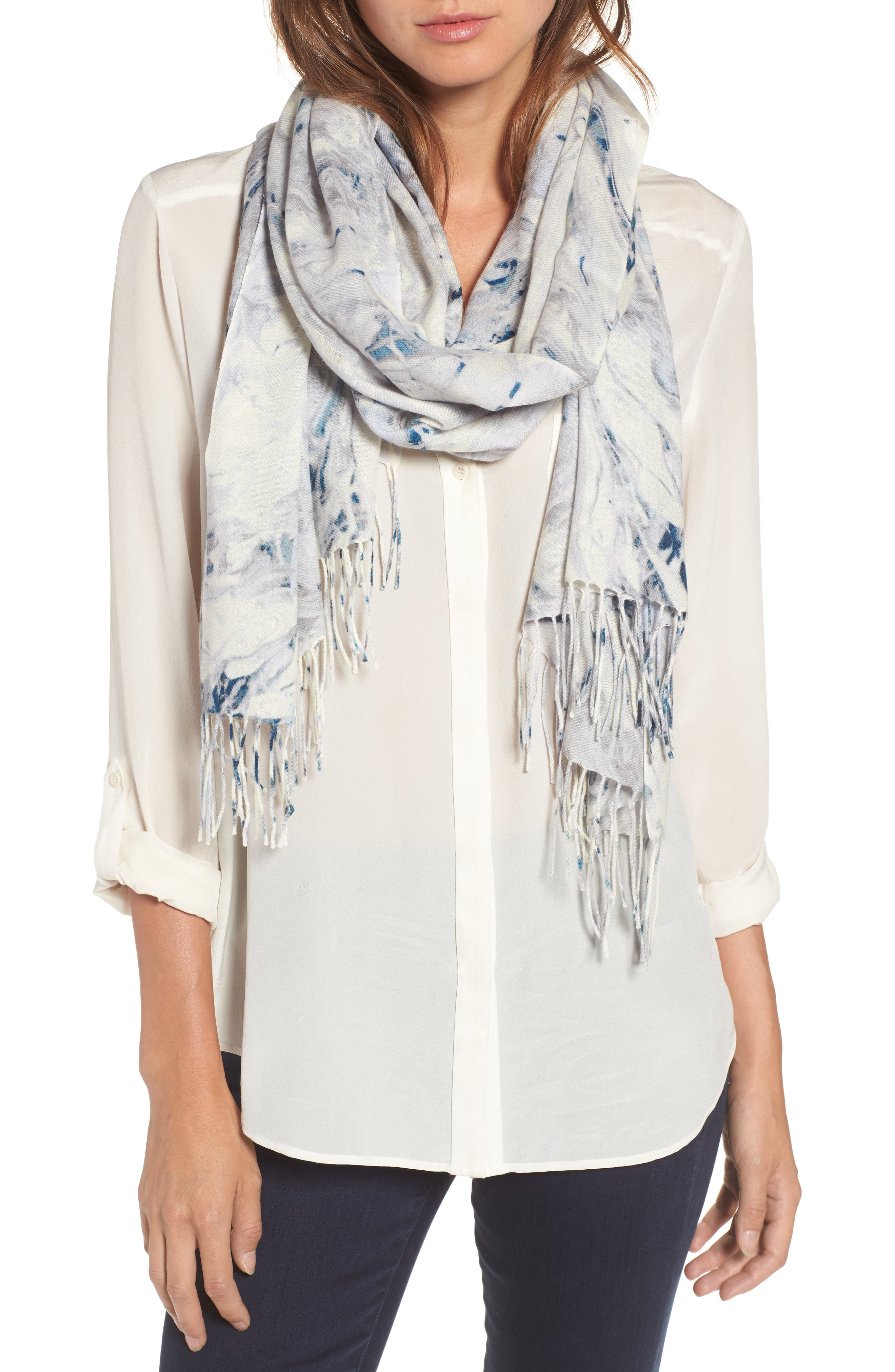Marble Tissue Wool & Cashmere Scarf,                         Main,                         color, 020