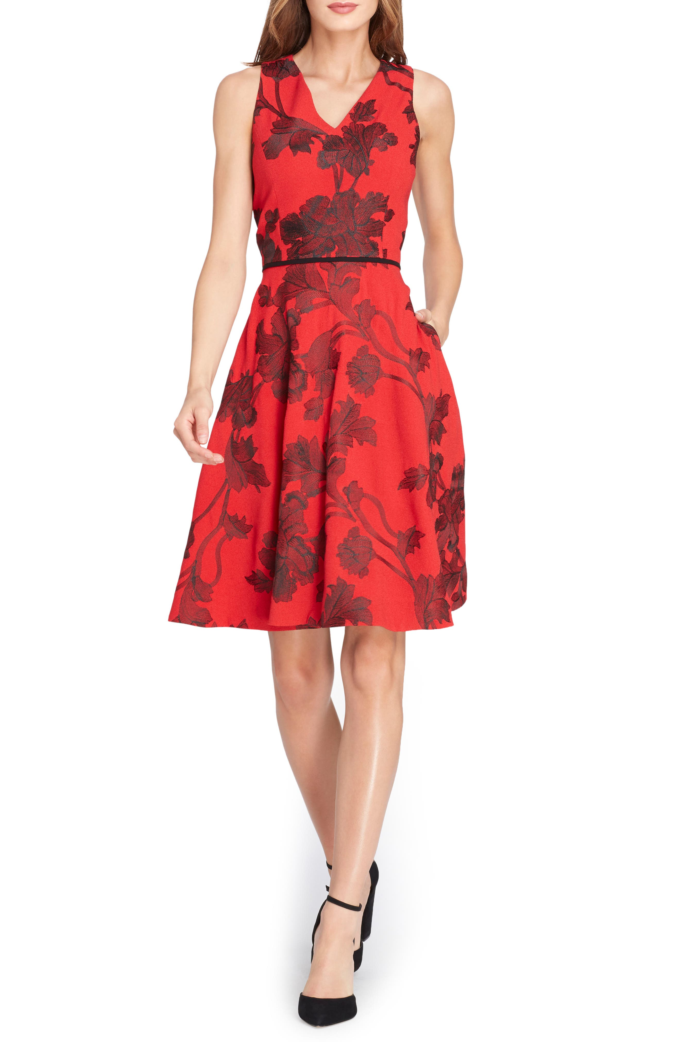 Floral Fit & Flare Dress,                             Main thumbnail 1, color,                             648