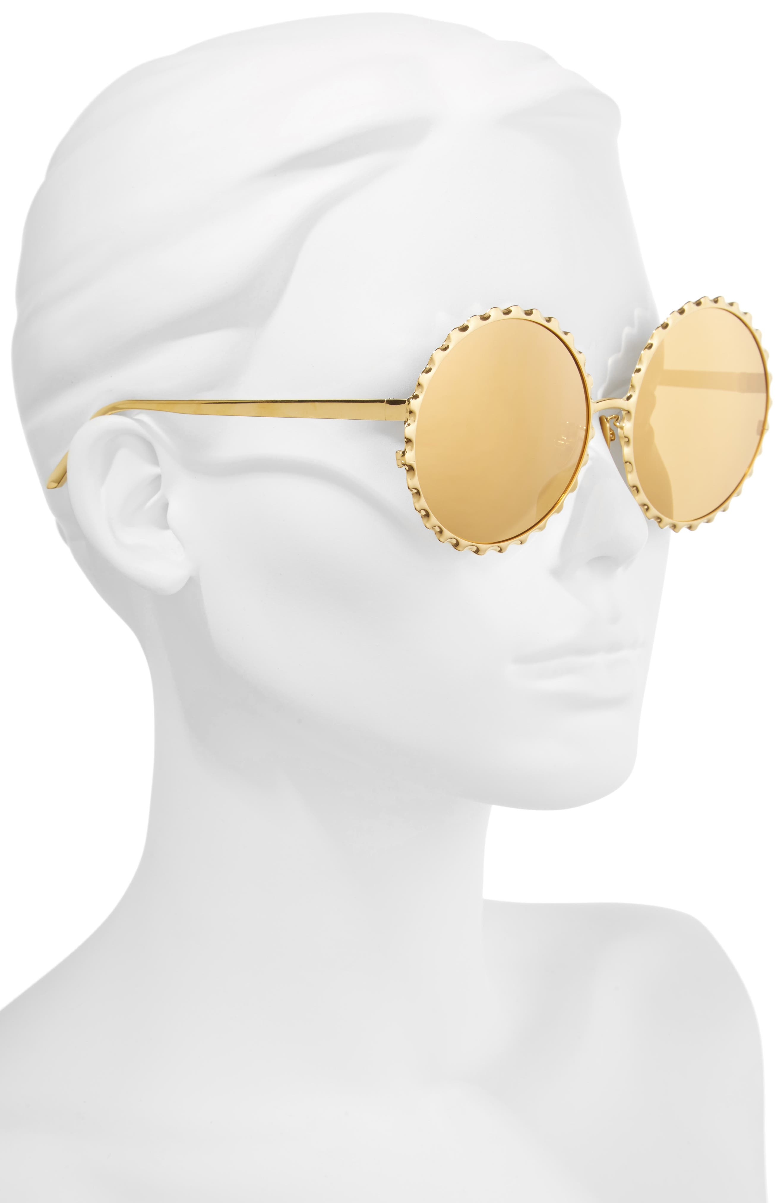 59mm Mirrored 18 Karat Gold Trim Round Sunglasses,                             Alternate thumbnail 2, color,                             710