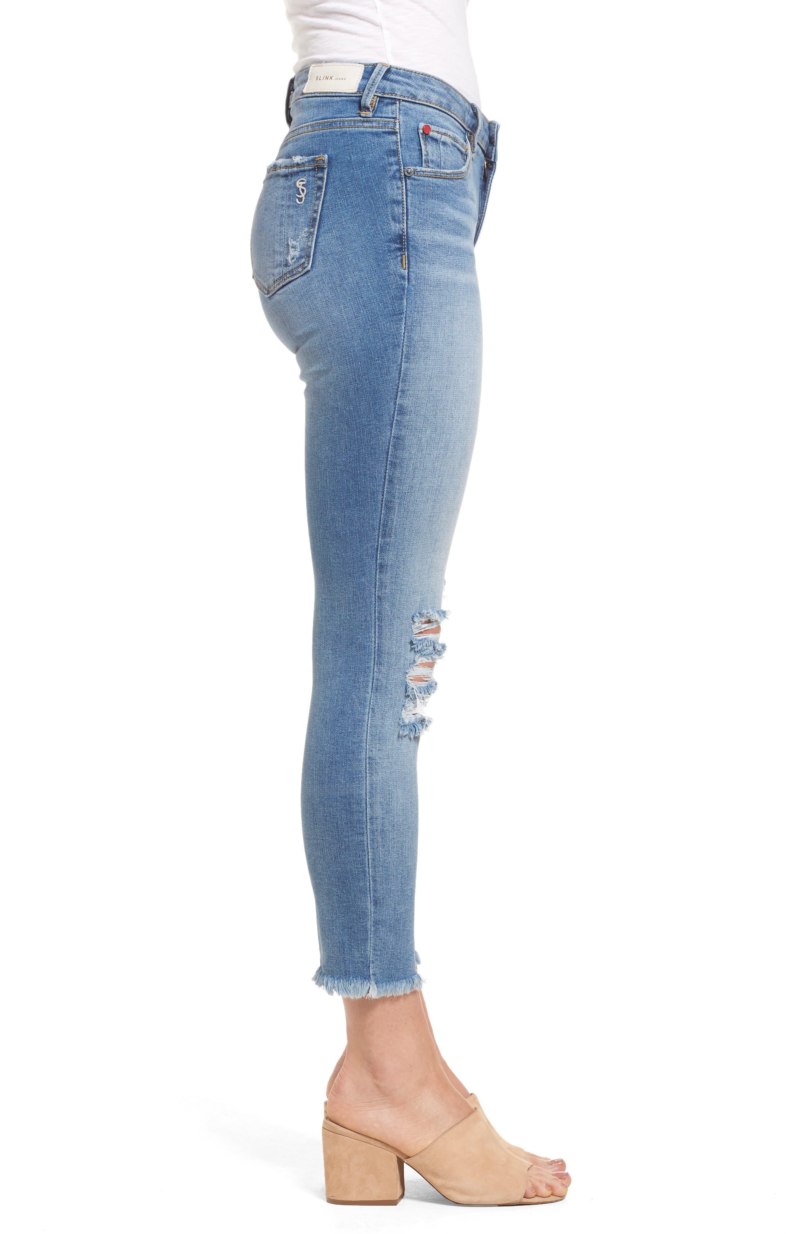 Frayed Hem Ankle Jeans,                             Alternate thumbnail 3, color,                             EDEN