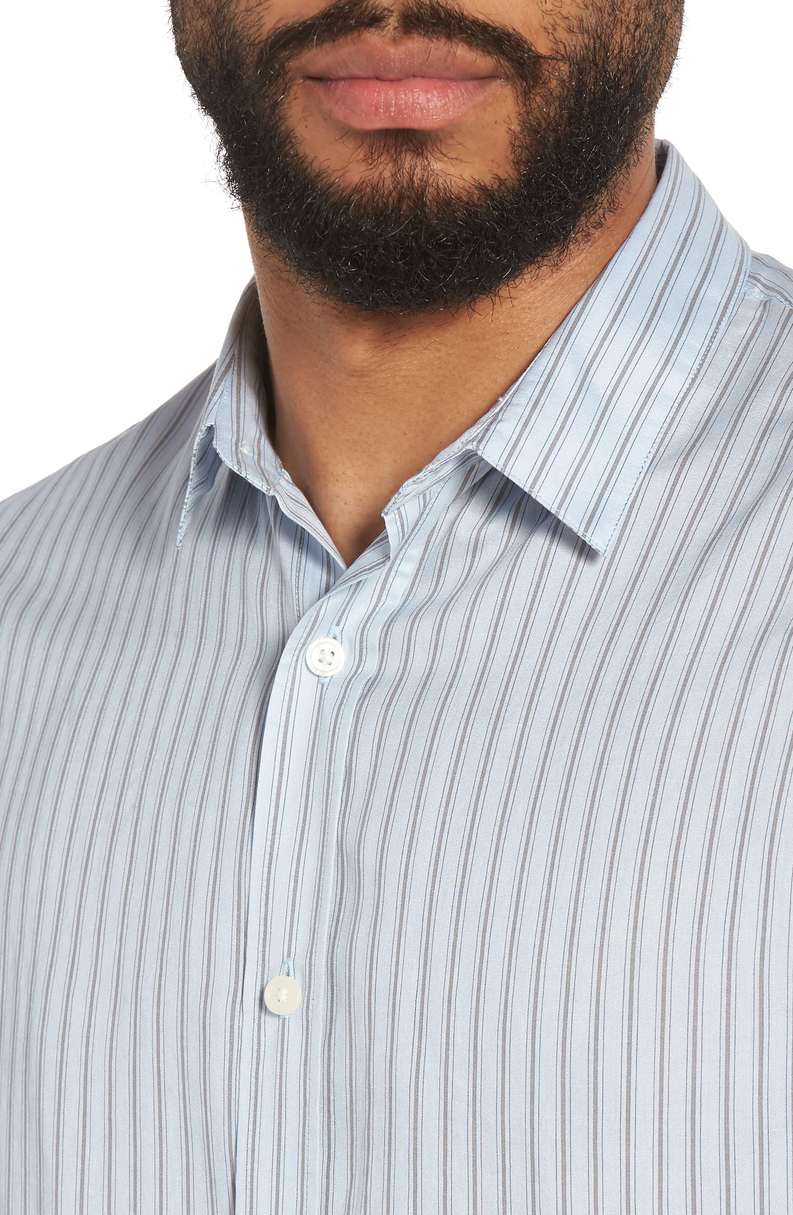 Slim Fit Stretch Stripe Sport Shirt,                             Alternate thumbnail 4, color,                             461