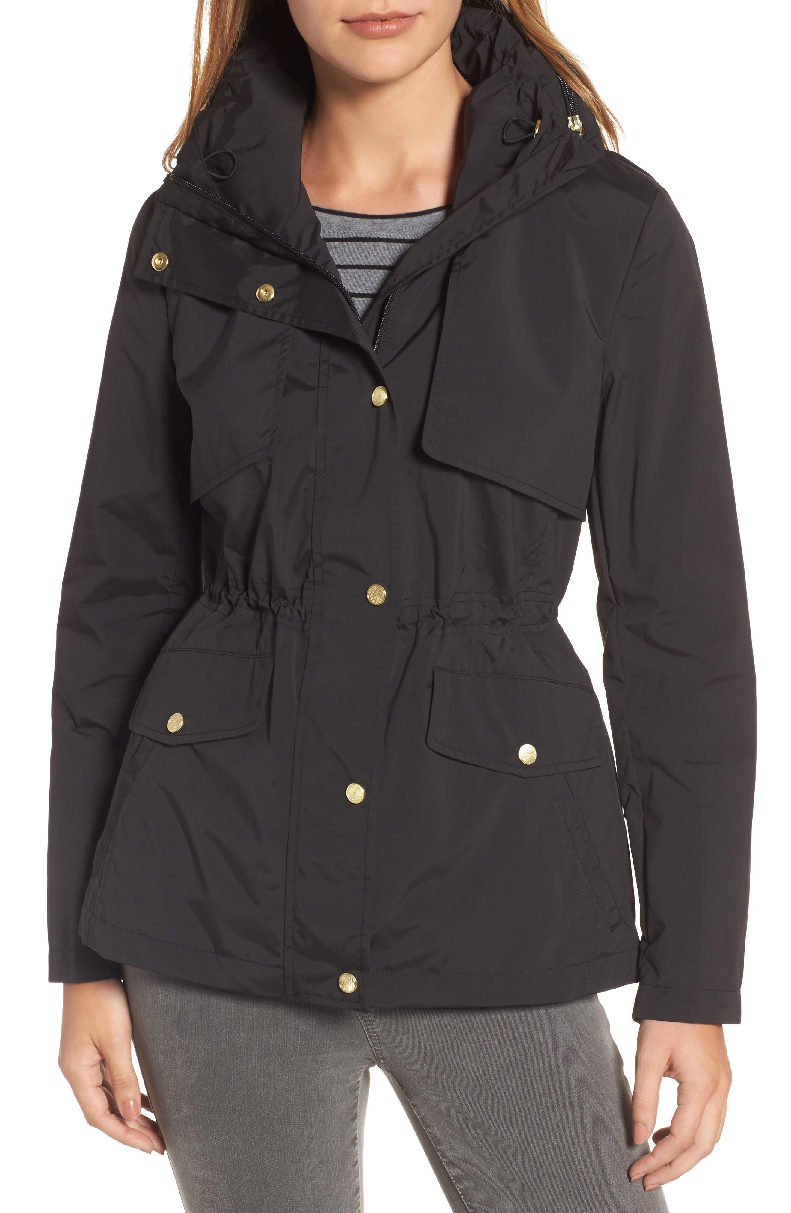 Packable Raincoat,                         Main,                         color, BLACK