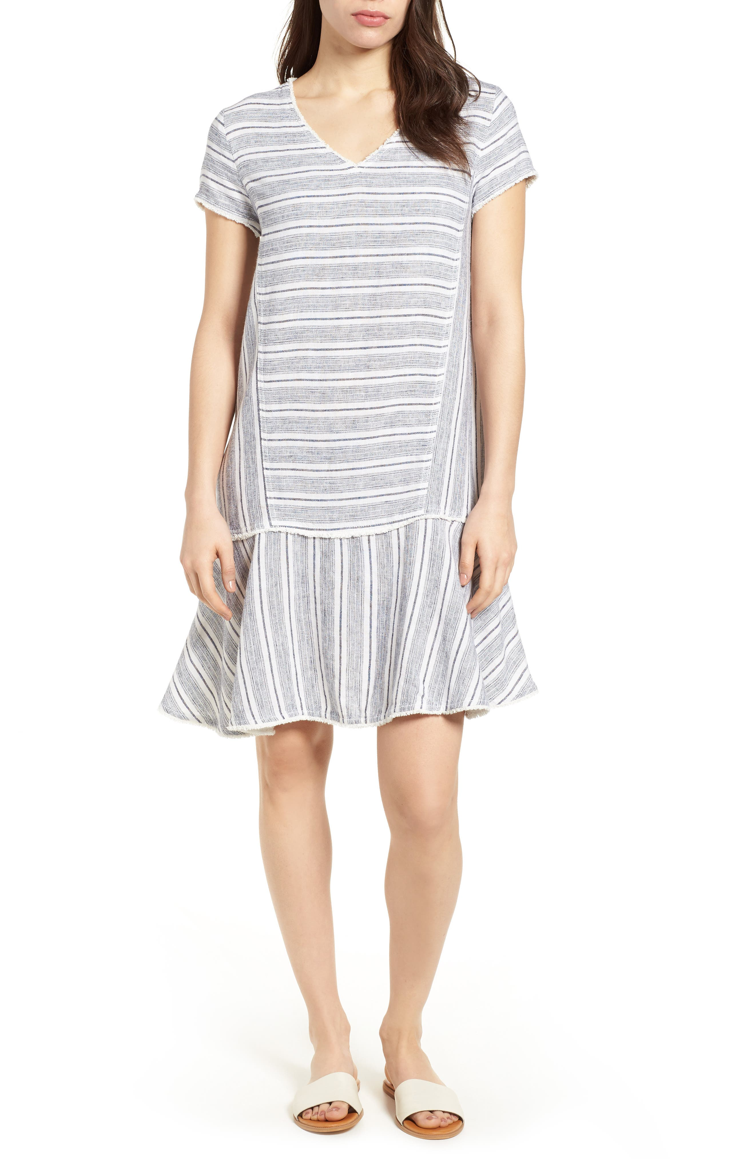 Linen Blend Stripe Dress,                             Main thumbnail 1, color,                             900