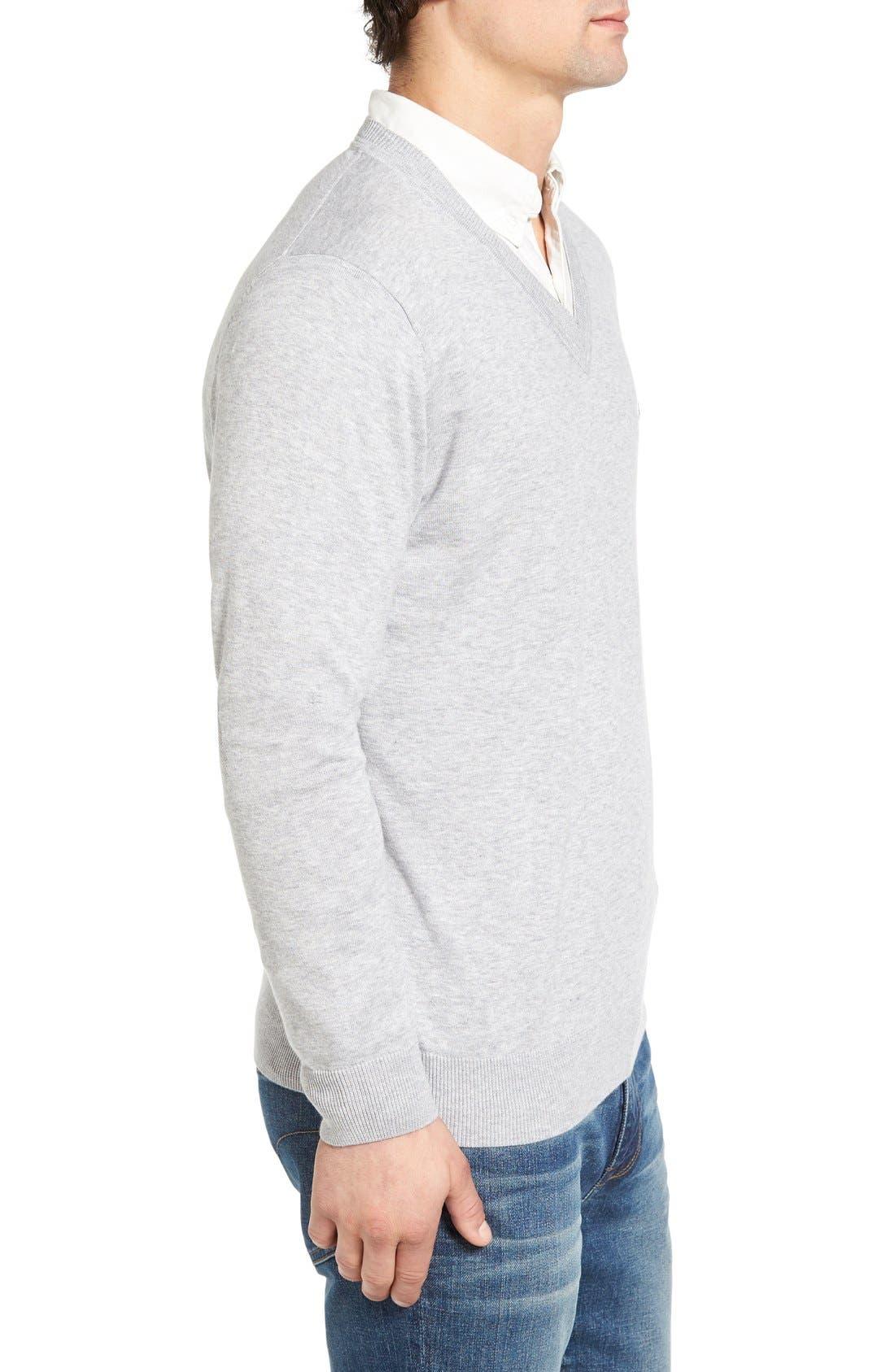Cotton Jersey V-Neck Sweater,                             Alternate thumbnail 22, color,