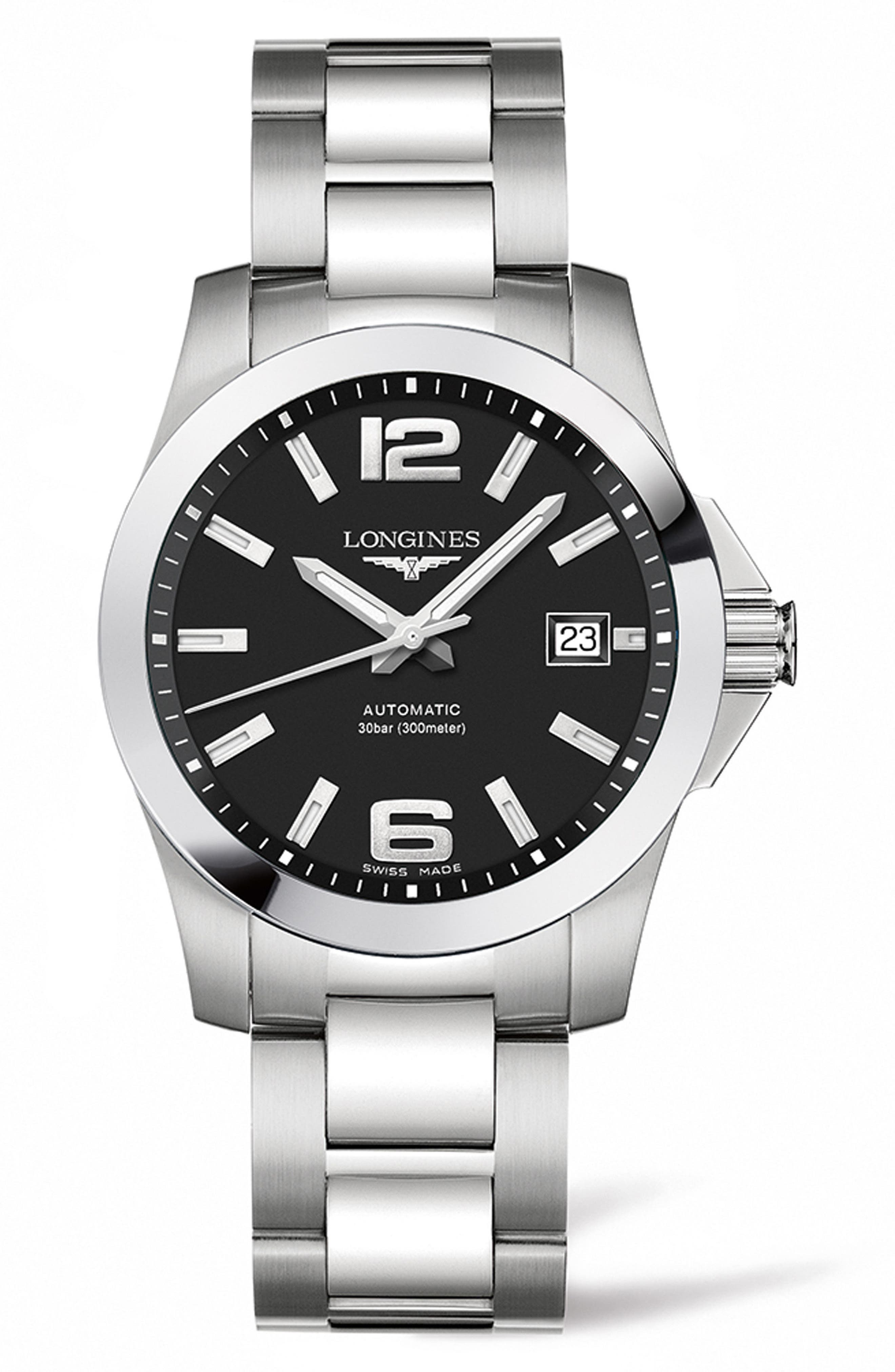 Conquest Automatic Bracelet Watch, 39mm,                             Main thumbnail 1, color,                             SILVER/ BLACK/ SILVER
