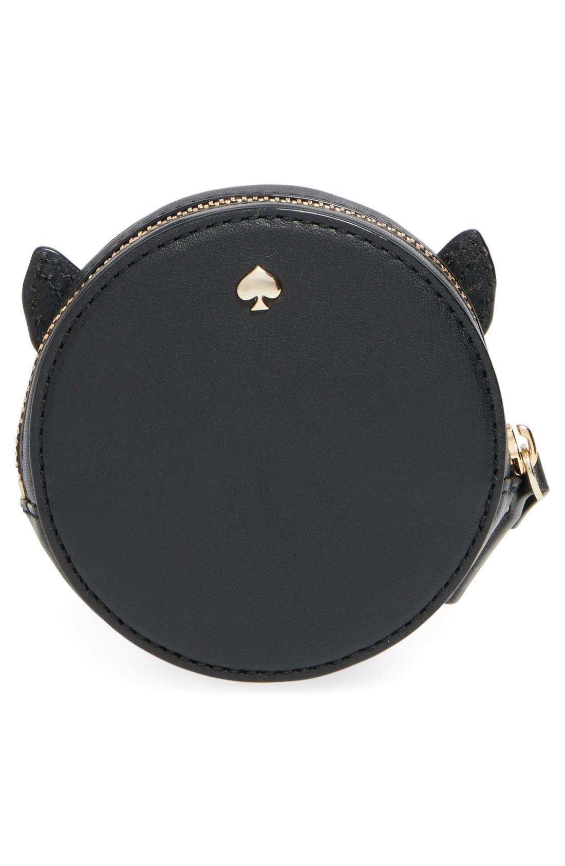 KATE SPADE NEW YORK,                             kate spade new york 'blaze a trail - fox' leather coin purse,                             Alternate thumbnail 4, color,                             001