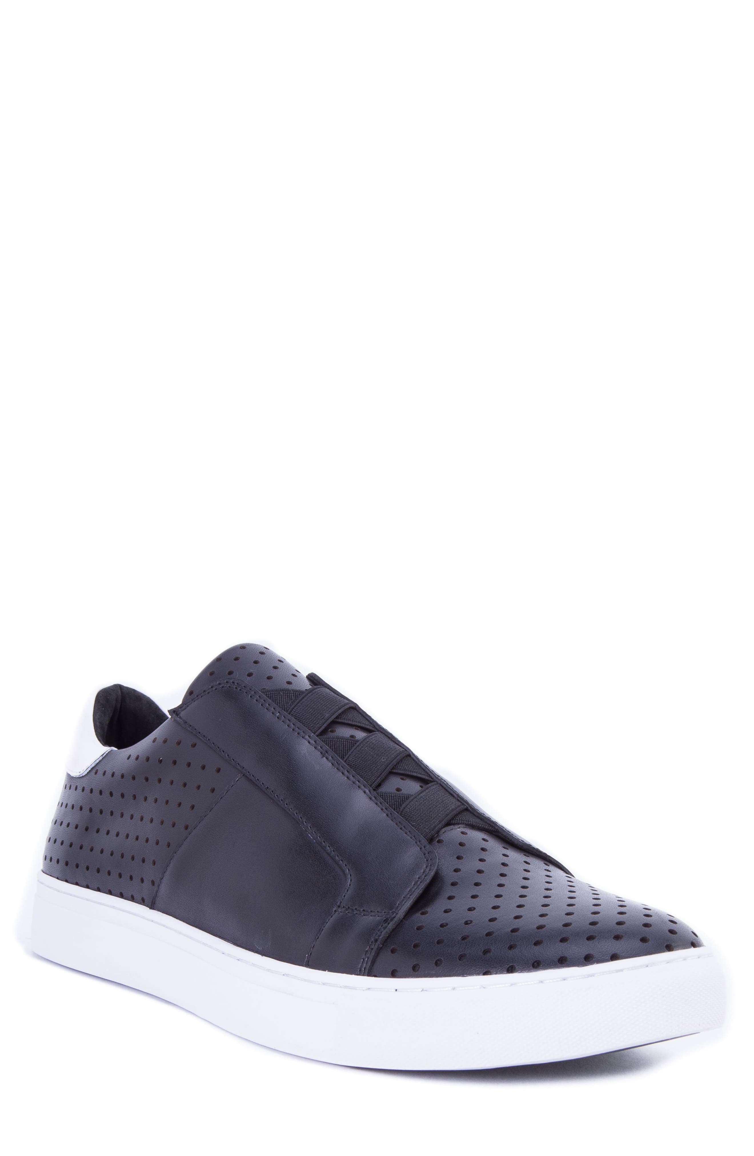 Rowley Perforated Laceless Sneaker,                             Main thumbnail 1, color,                             BLACK LEATHER