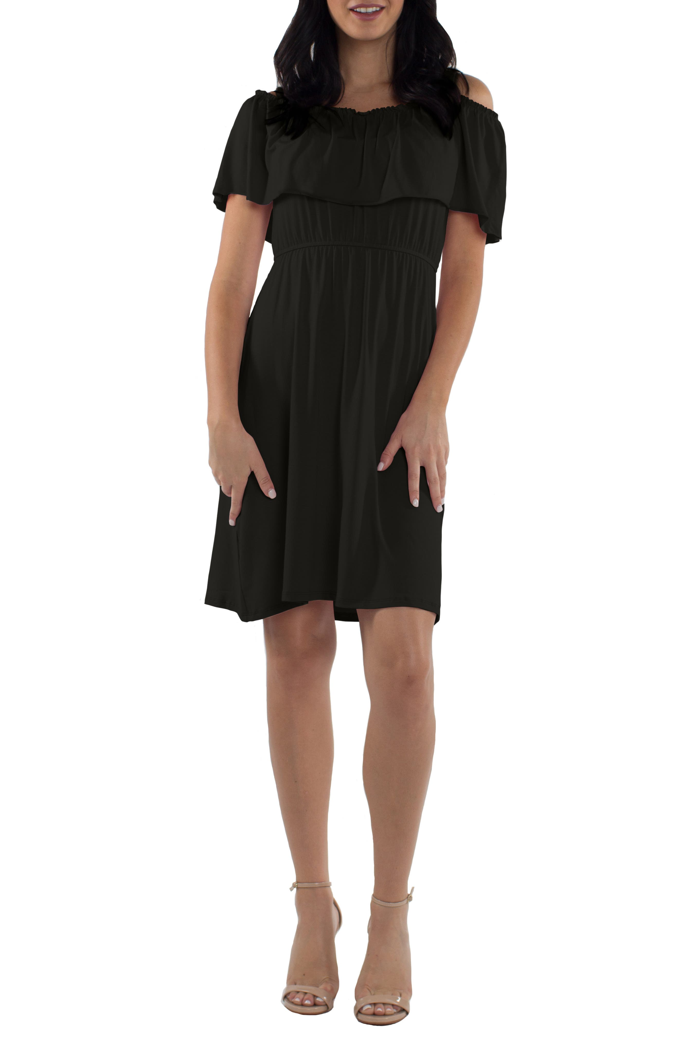 Reagan Nursing Dress,                             Main thumbnail 1, color,                             BLACK