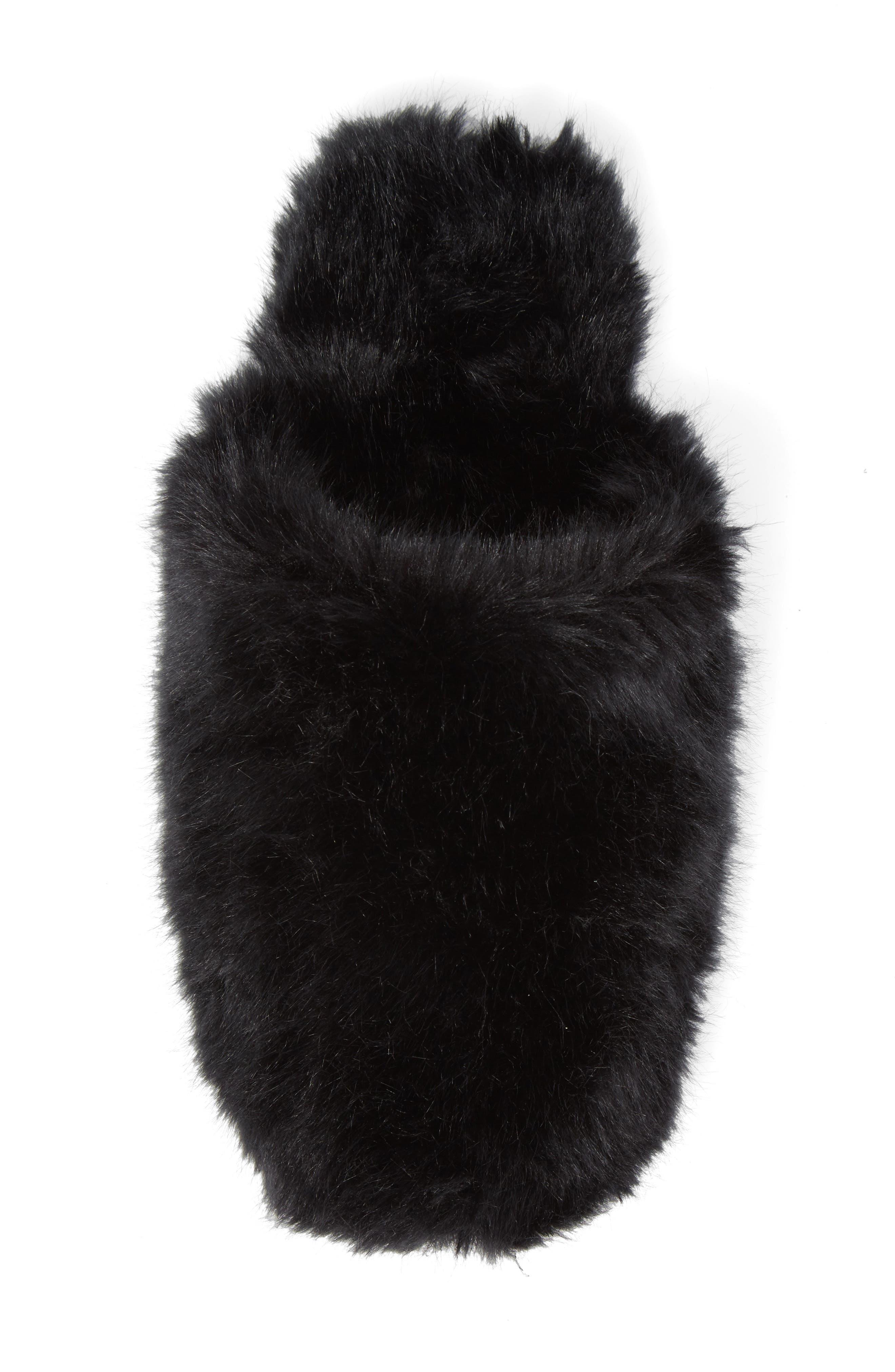 Faux Fur Slipper,                             Alternate thumbnail 5, color,                             BLACK