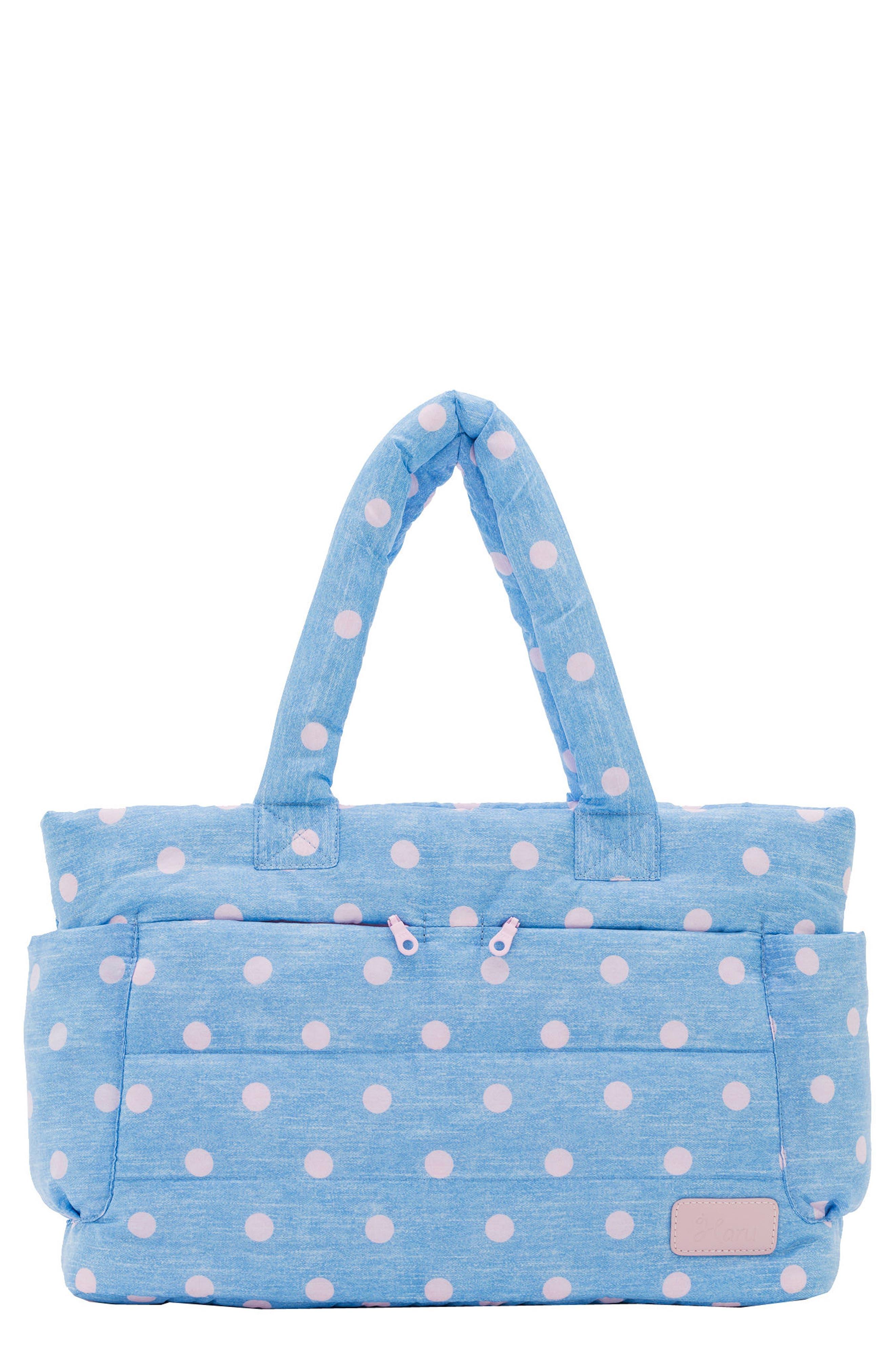 Print Classic Water Repellent Diaper Bag,                         Main,                         color, DENIM PINK DOT