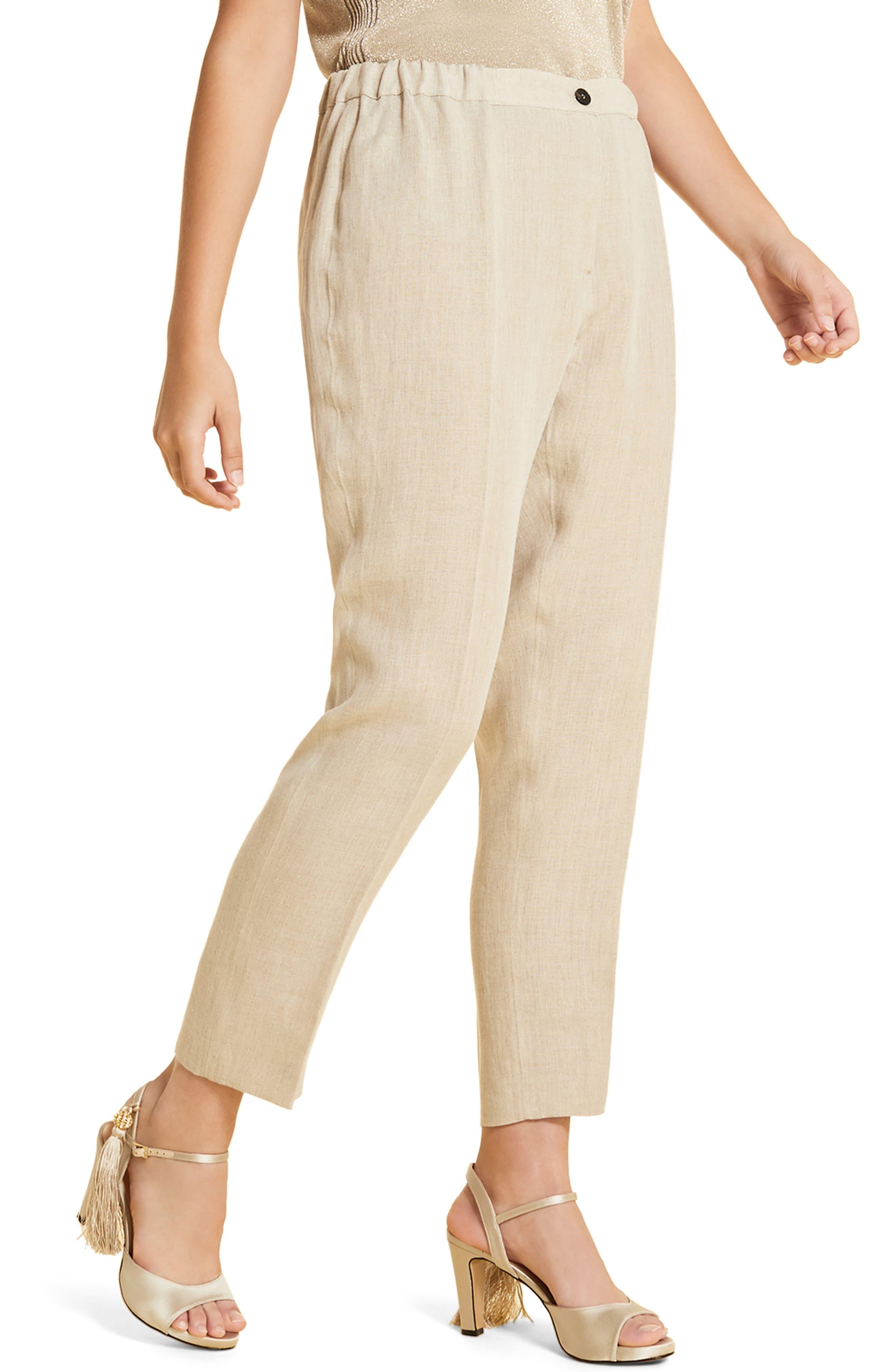 plus size women's marina rinaldi rende linen trousers