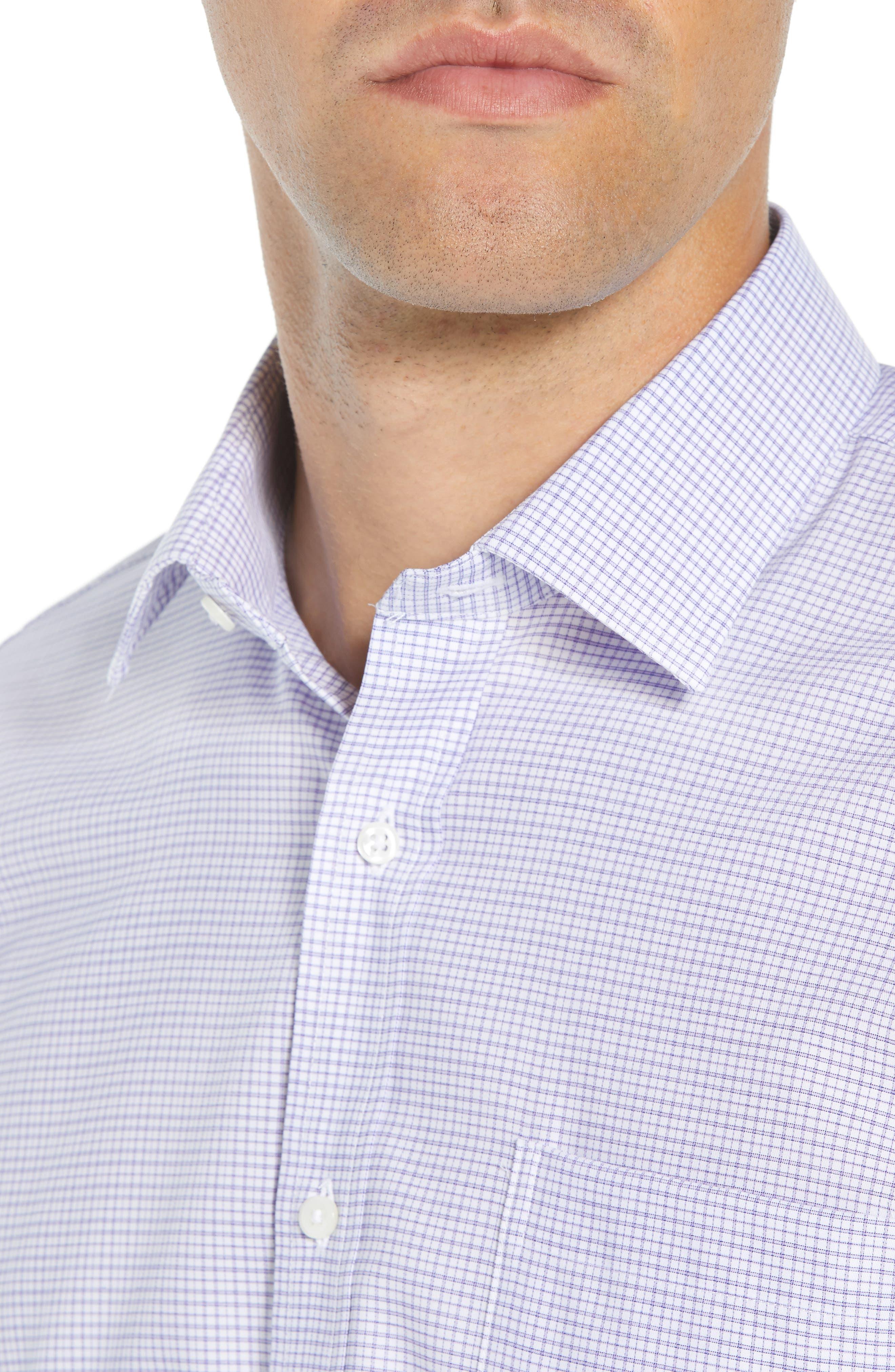 Trim Fit Check Dress Shirt,                             Alternate thumbnail 4, color,