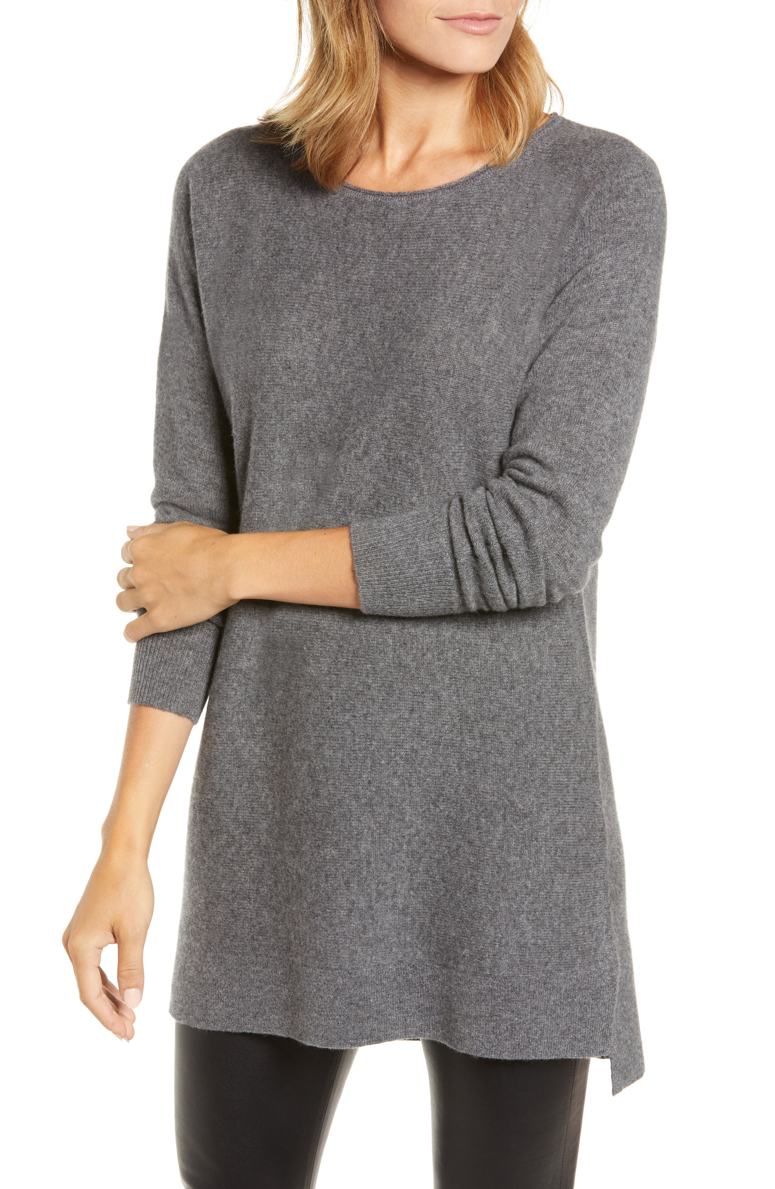 High/Low Wool & Cashmere Tunic Sweater,                             Main thumbnail 3, color,
