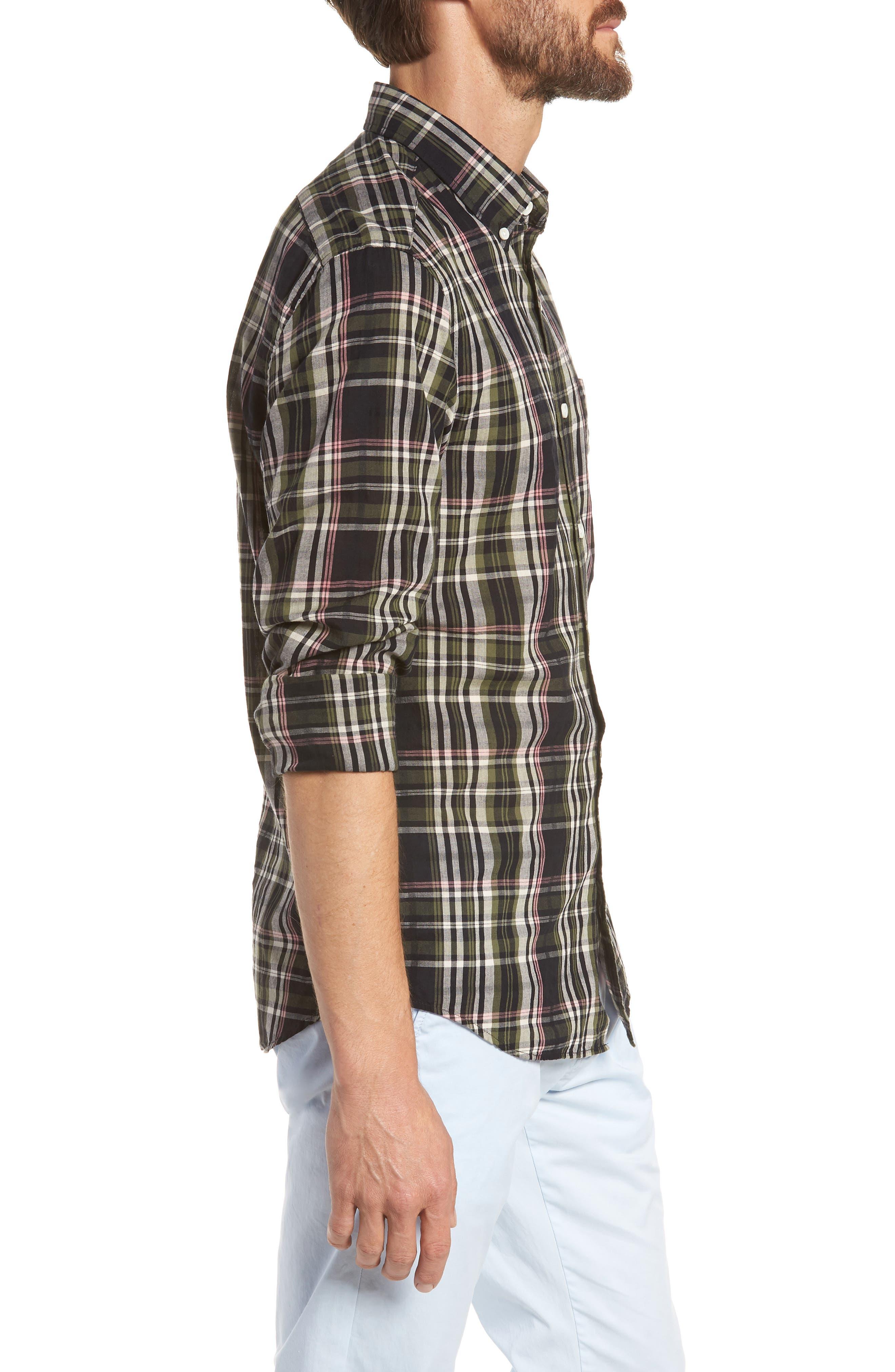 Jerome Slim Fit Plaid Sport Shirt,                             Alternate thumbnail 4, color,