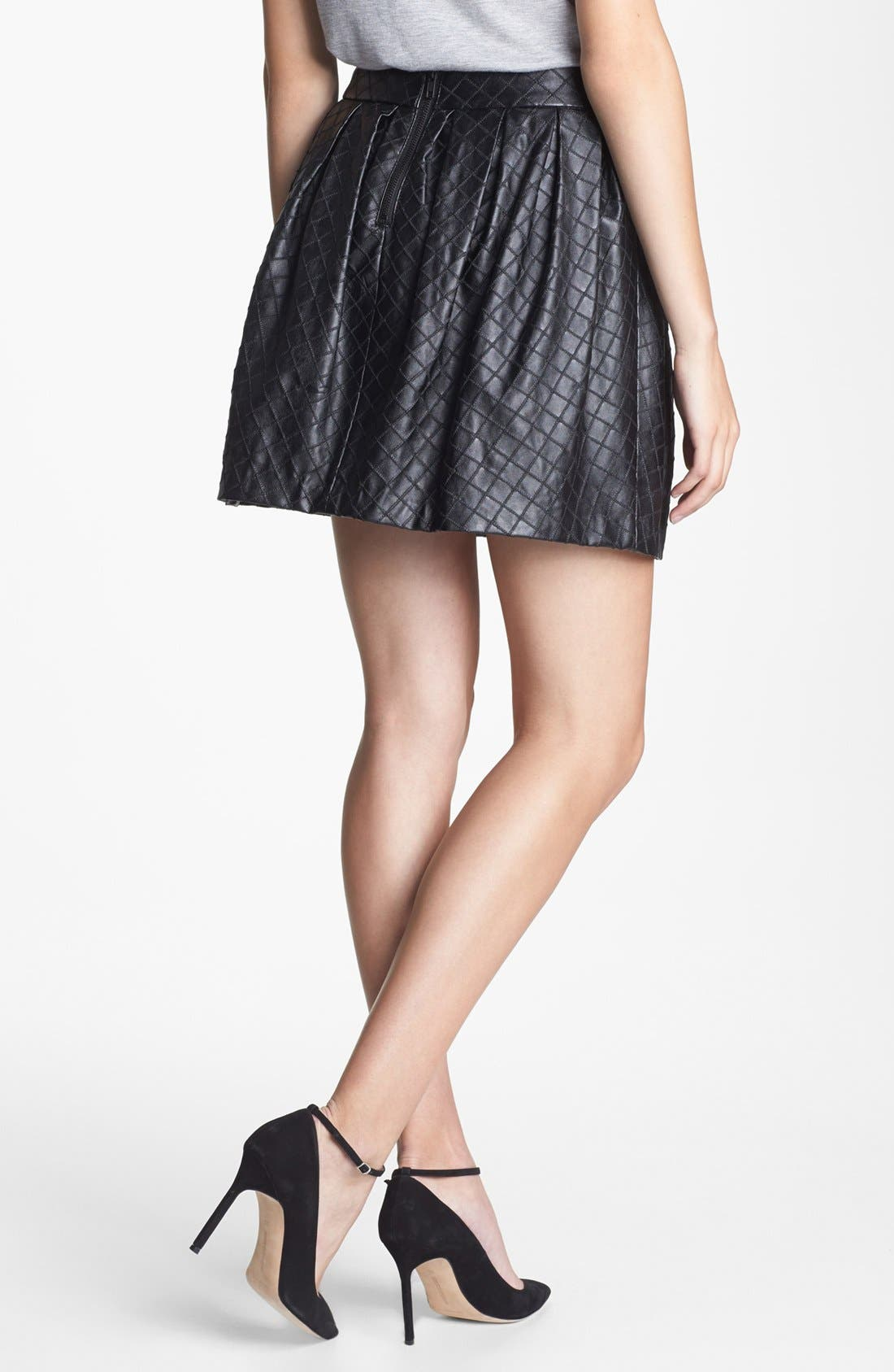 Quilted Faux Leather Skirt,                             Alternate thumbnail 3, color,                             001