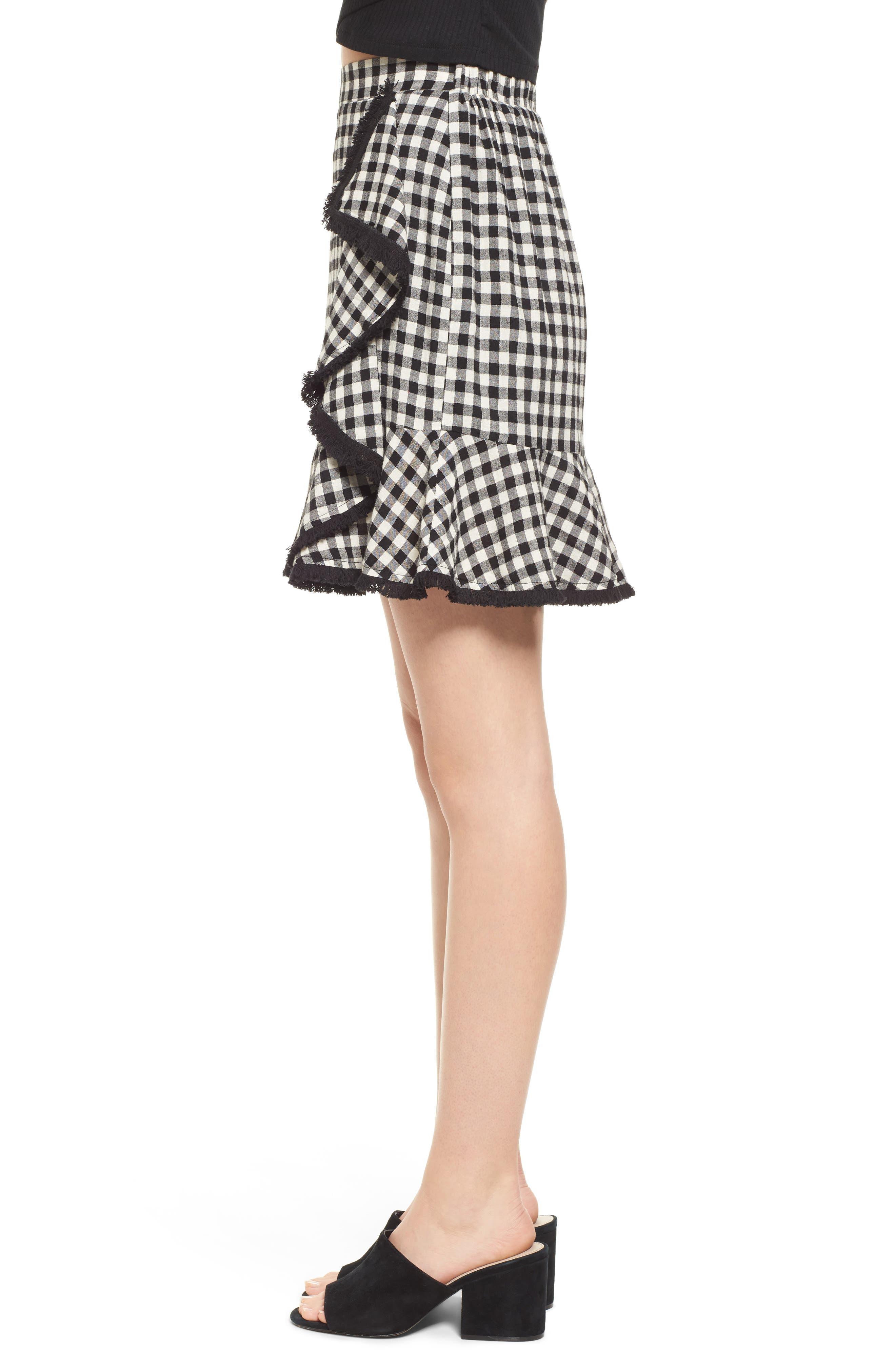 Ruffle Trim Gingham Skirt,                             Alternate thumbnail 3, color,                             001