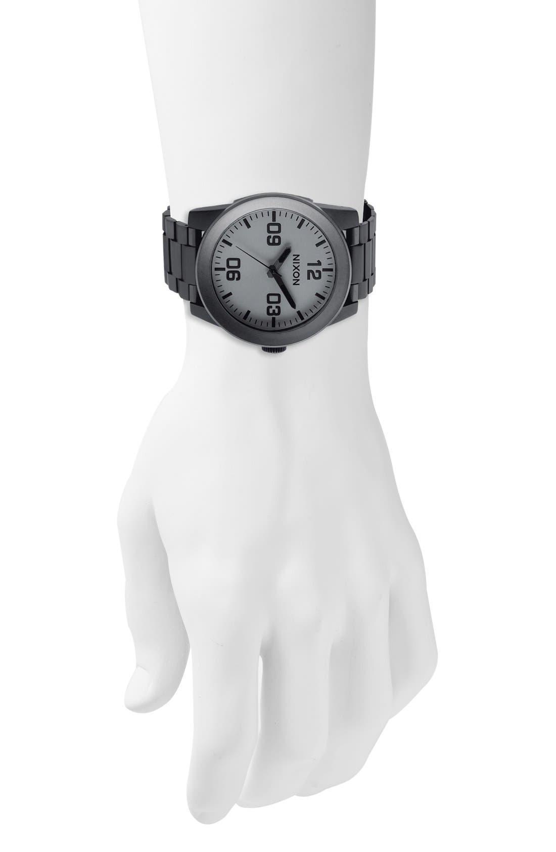 'The Corporal' Bracelet Watch, 48mm,                             Alternate thumbnail 5, color,                             GUNMETAL