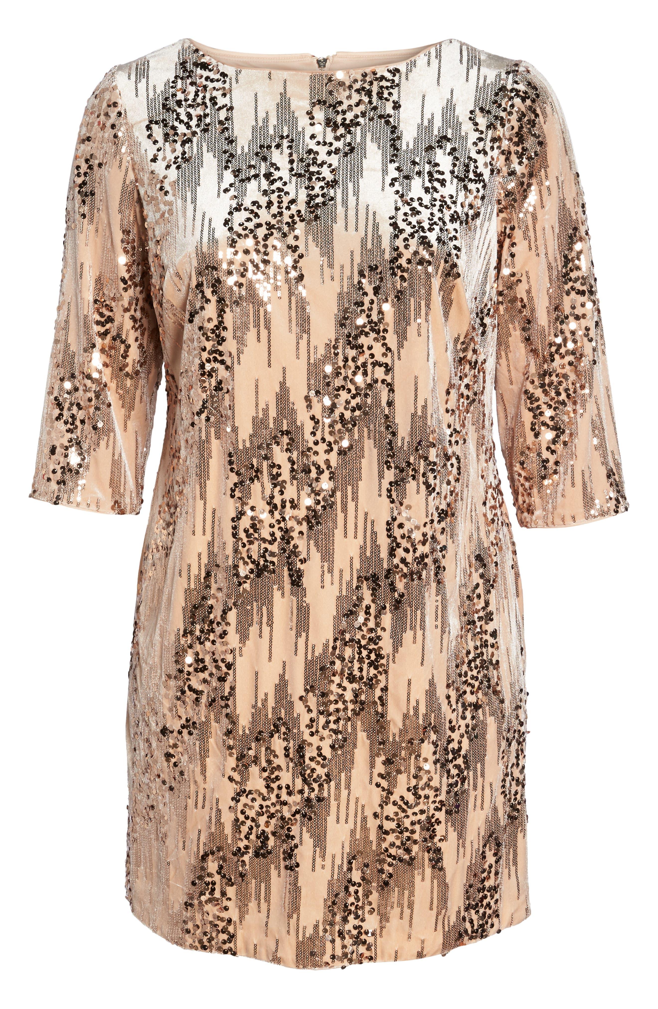 Sequin Velvet Shift Dress,                             Alternate thumbnail 6, color,                             BLUSH