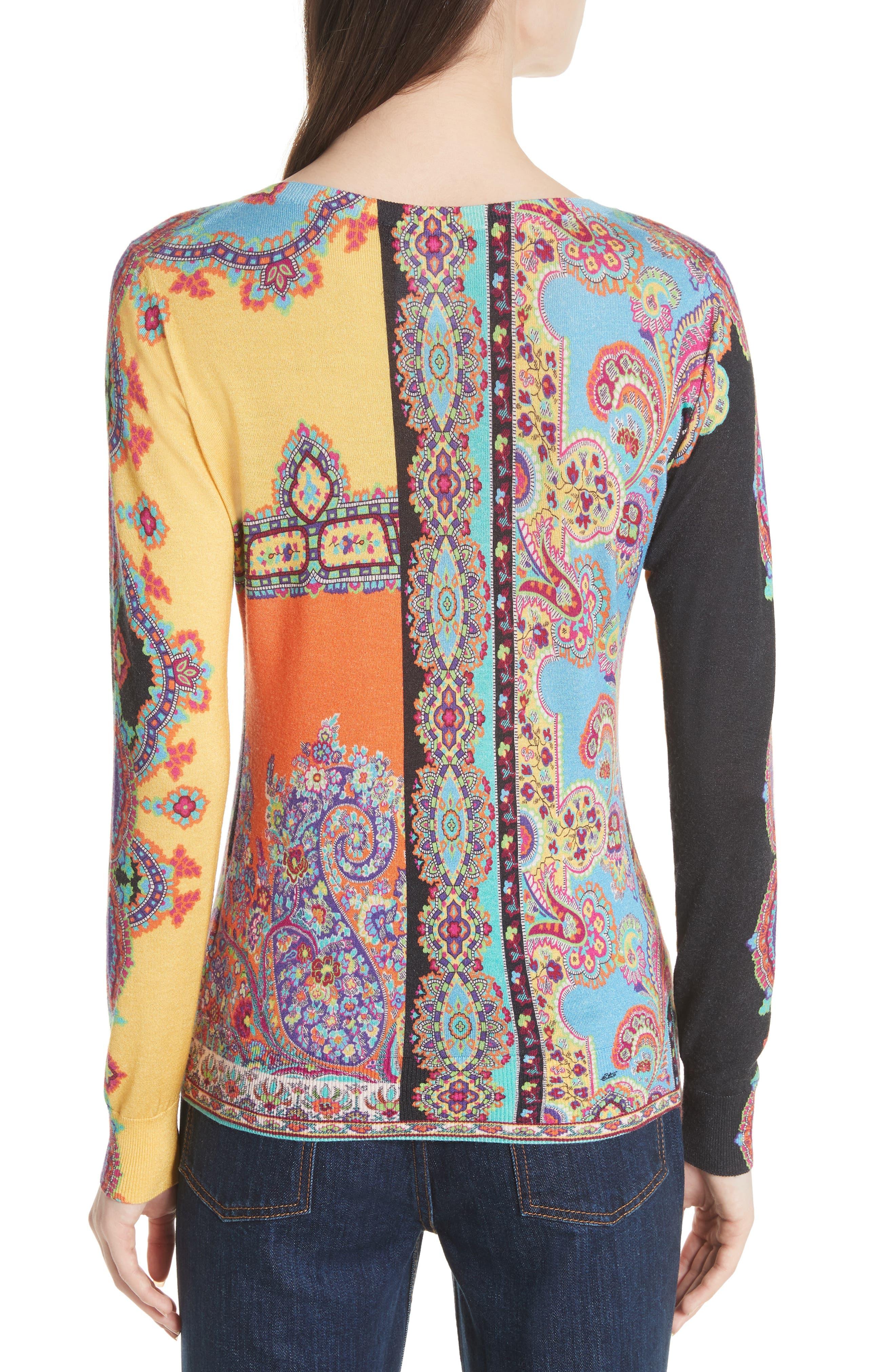 Harlem Paisley Silk & Cashmere Sweater,                             Alternate thumbnail 2, color,                             800