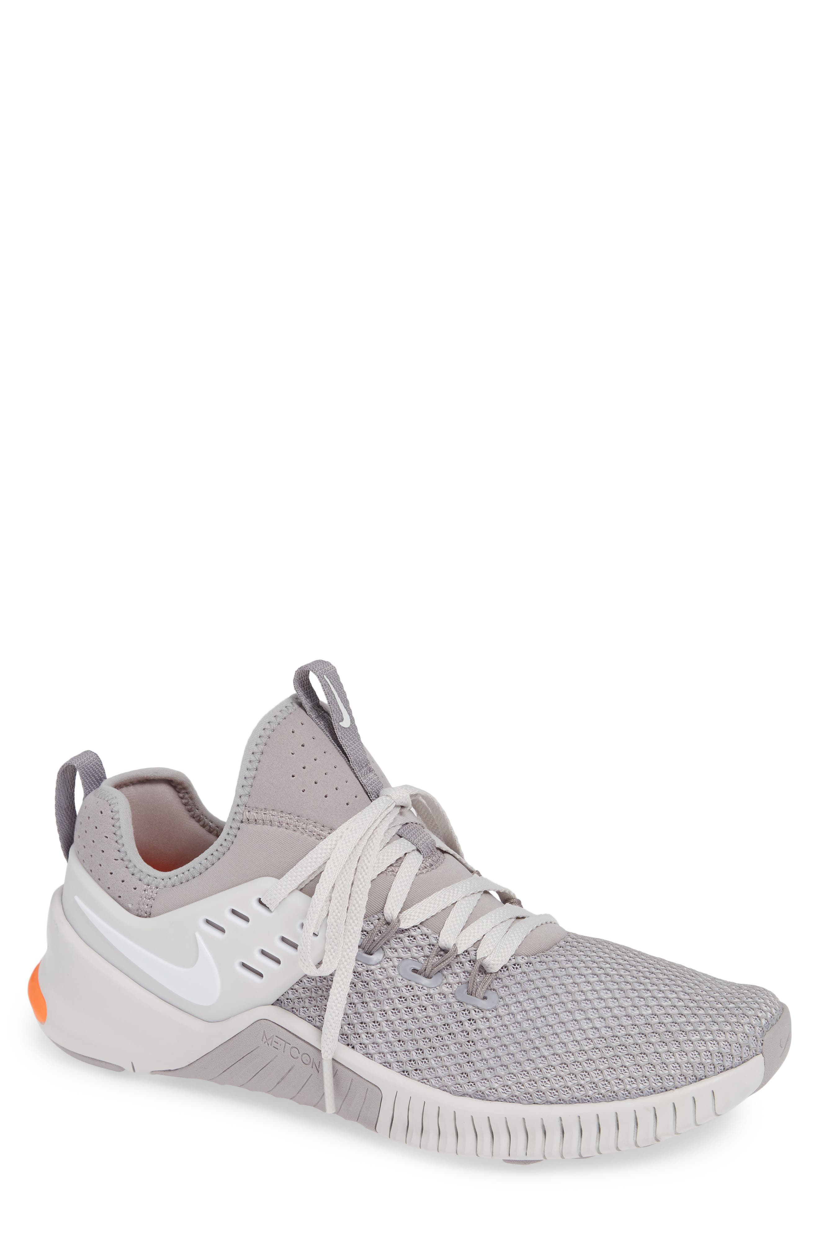 Free x Metcon Training Shoe,                         Main,                         color, GREY/ WHITE/ CRIMSON