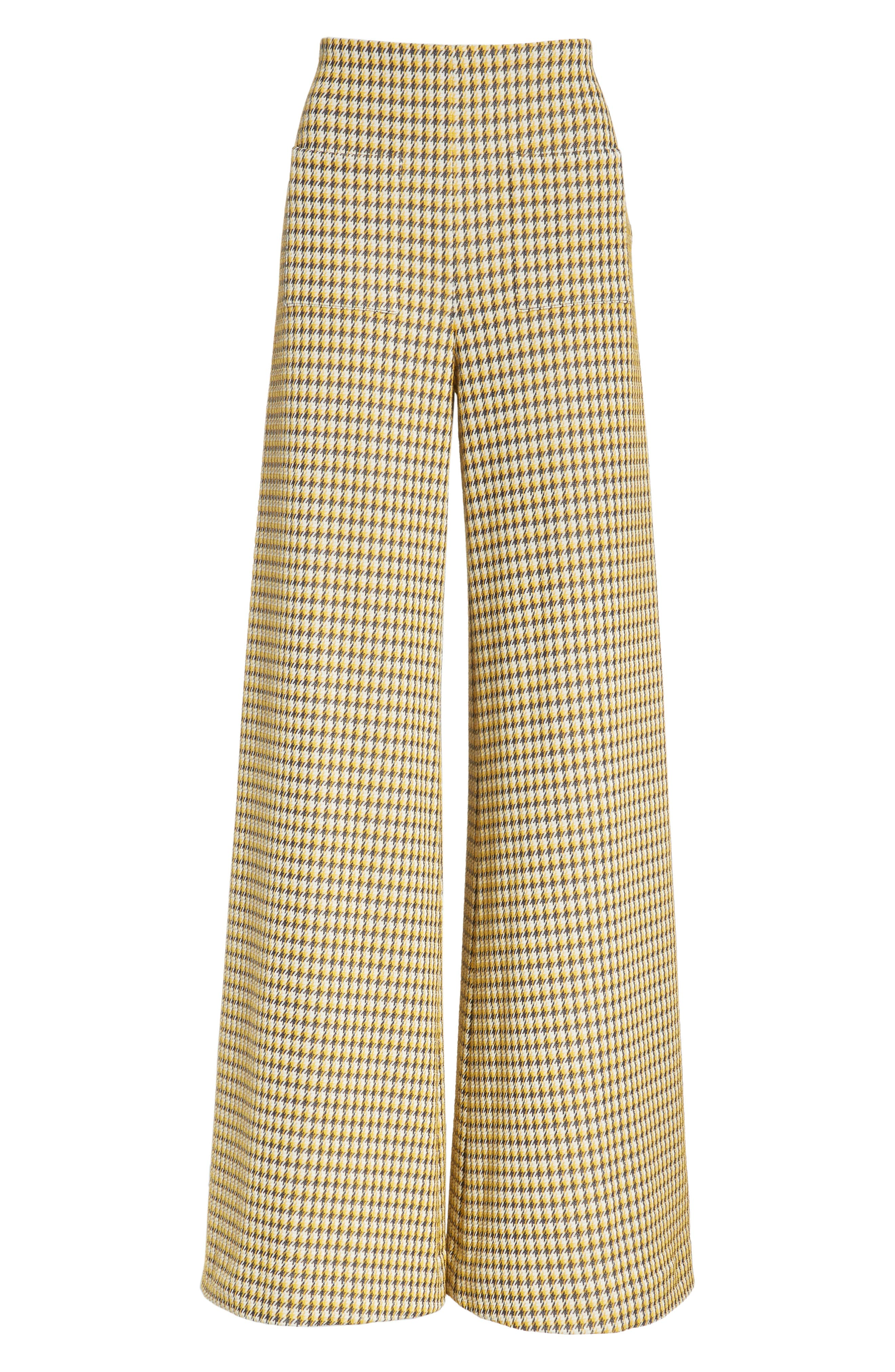 Luc Houndstooth Wide Leg Pants,                             Alternate thumbnail 6, color,                             YELLOW/ MIDNIGHT