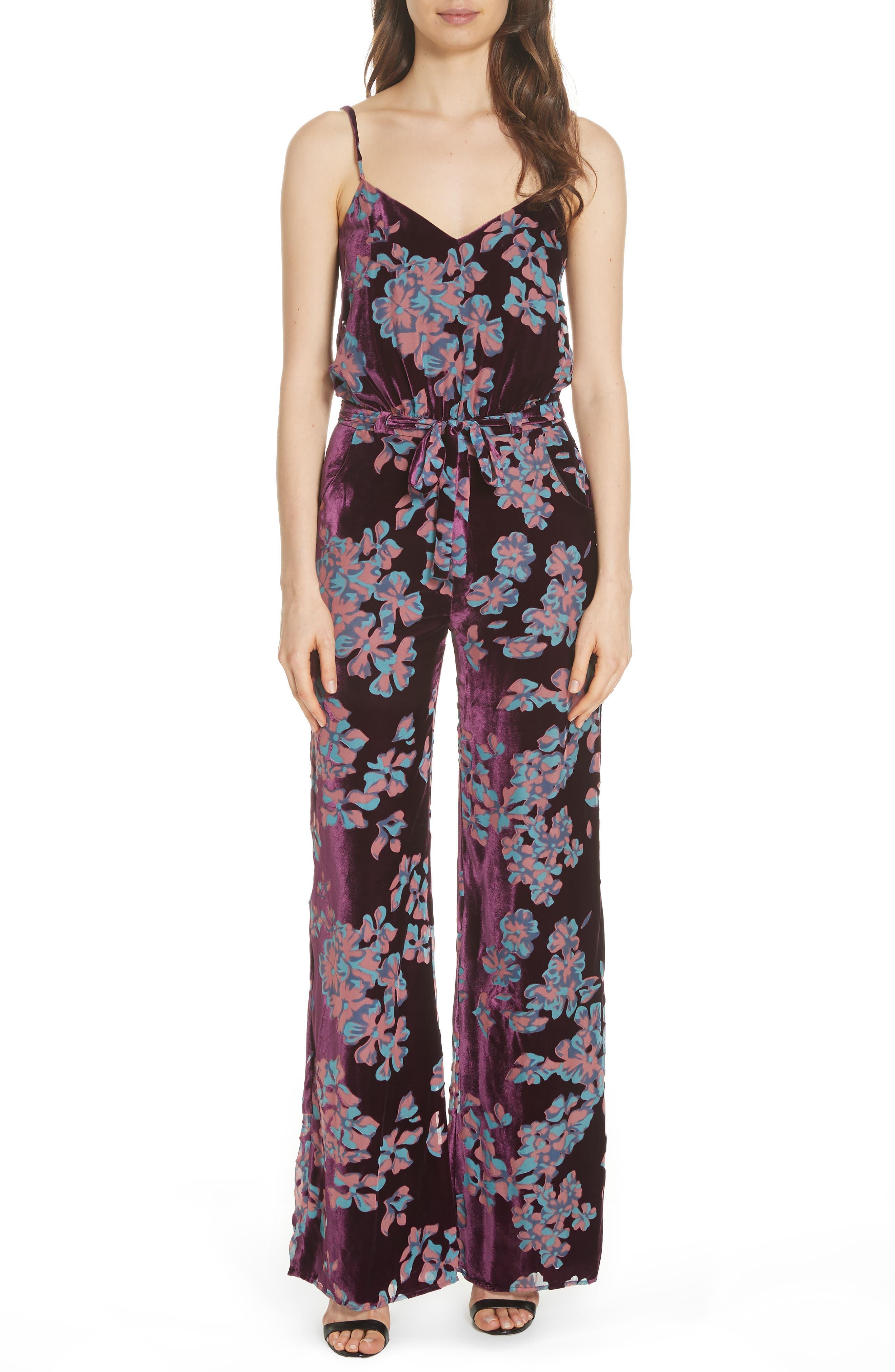 Loretta Floral & Stripe Print Jumpsuit,                         Main,                         color, PLUM INSIGNIA 689