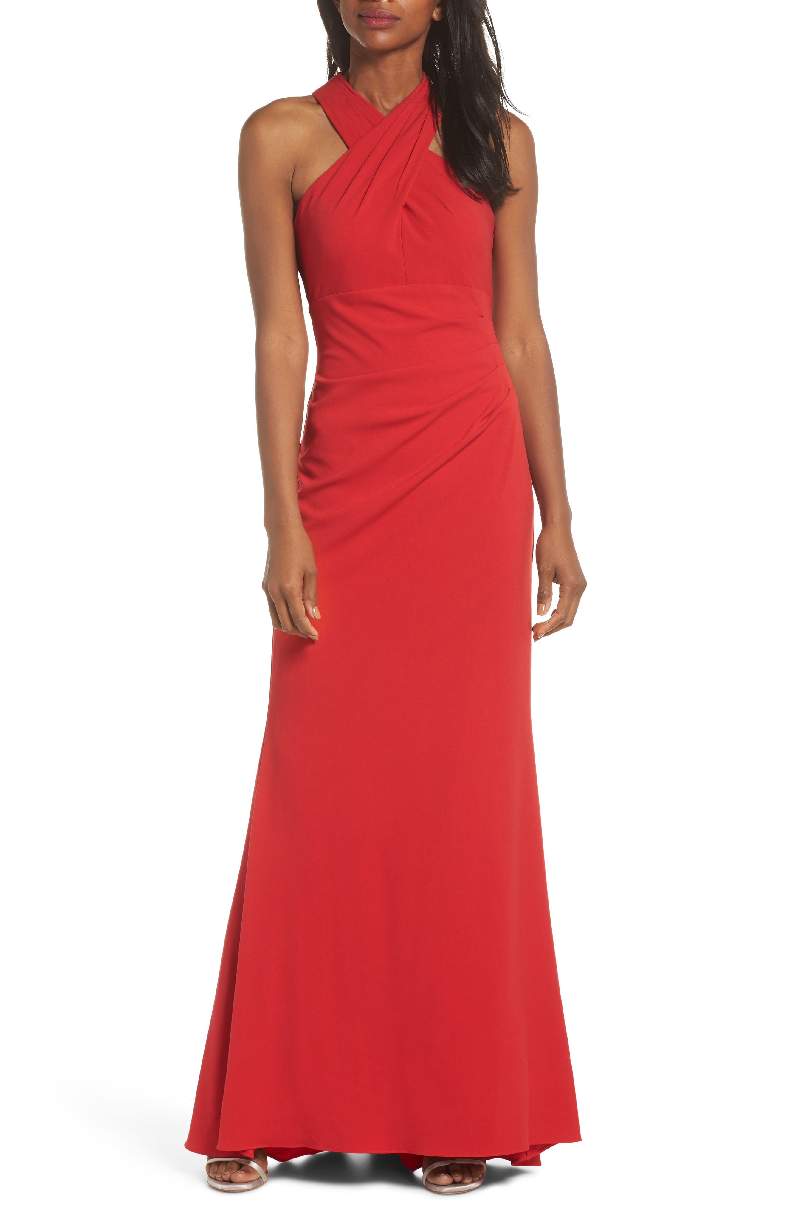 Side Pleat Crossneck Gown,                             Main thumbnail 1, color,                             RED
