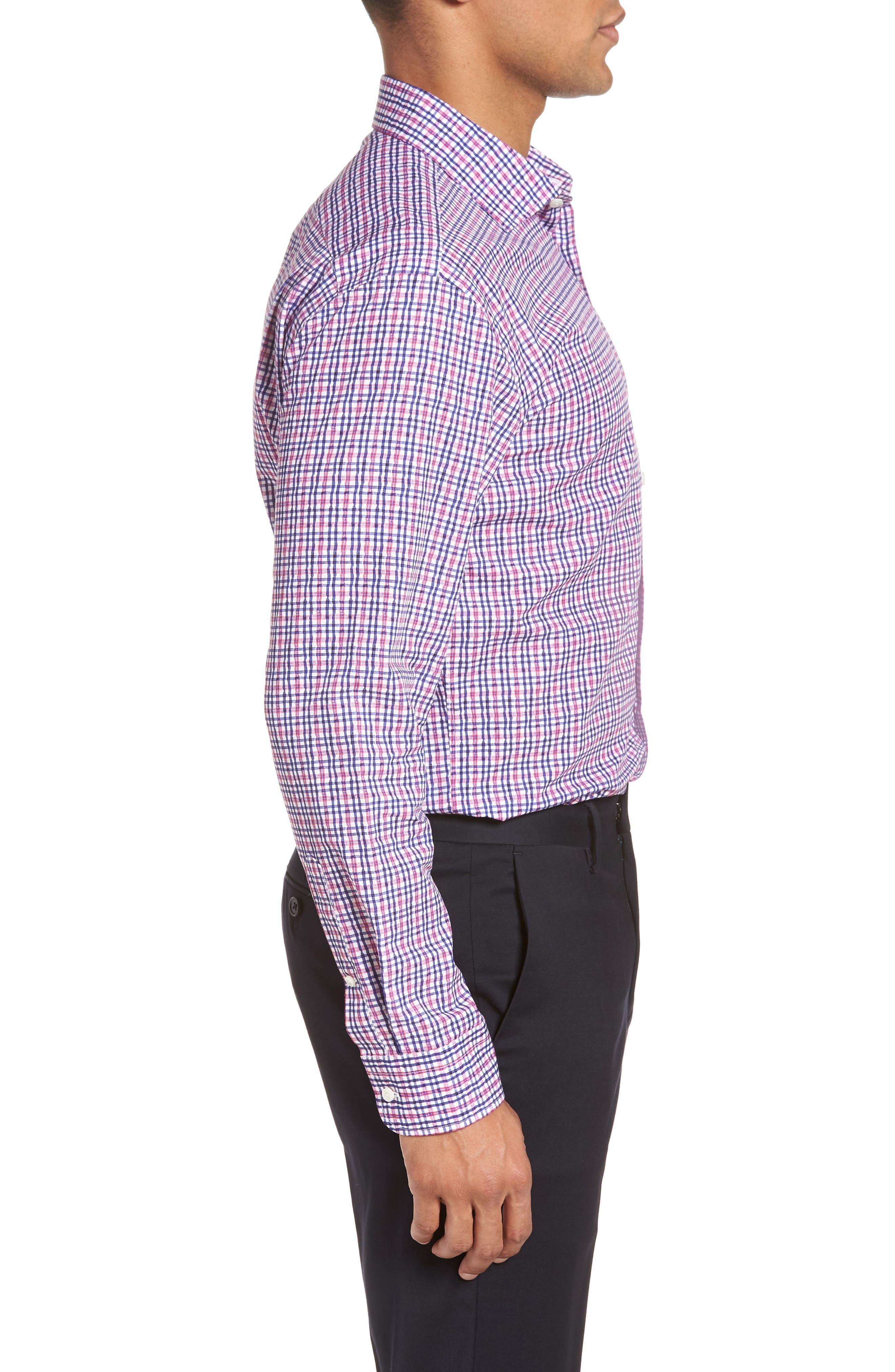 Trim Fit Plaid Dress Shirt,                             Alternate thumbnail 4, color,                             660