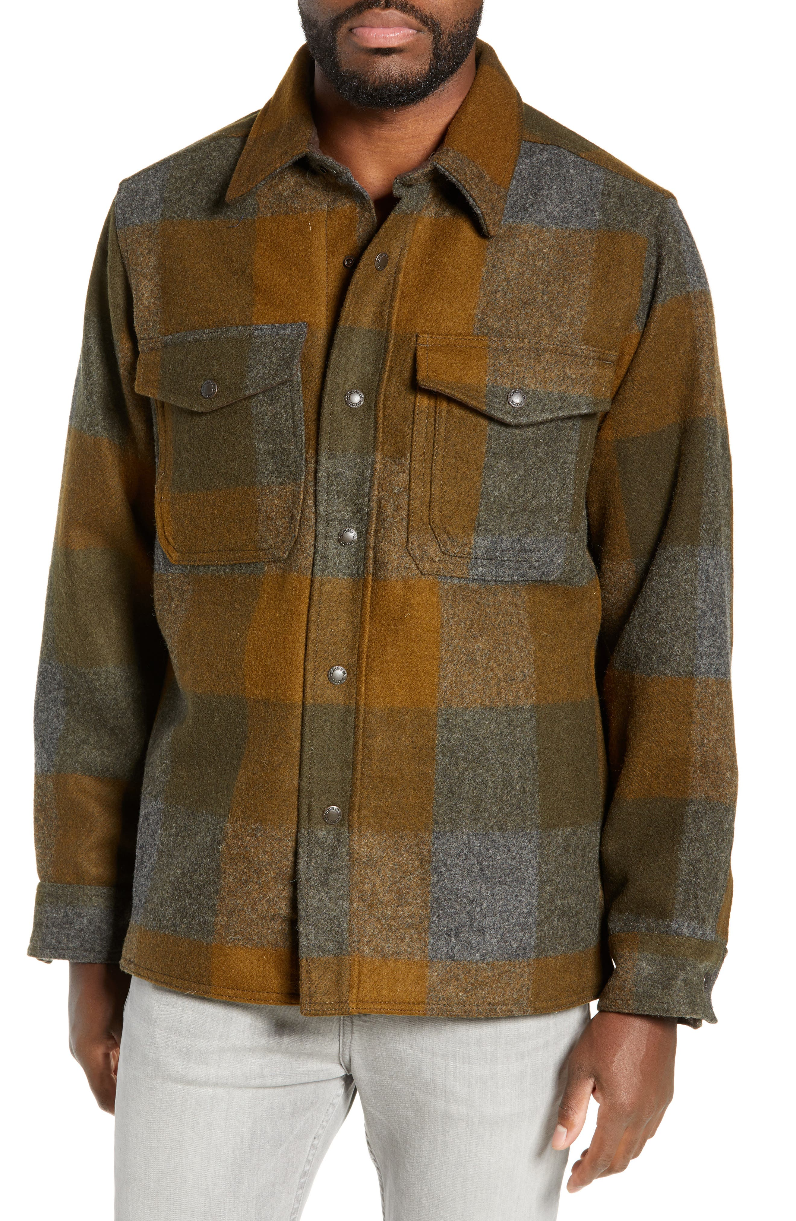 Mackinaw Plaid Wool Flannel Shirt Jacket,                             Alternate thumbnail 4, color,                             233