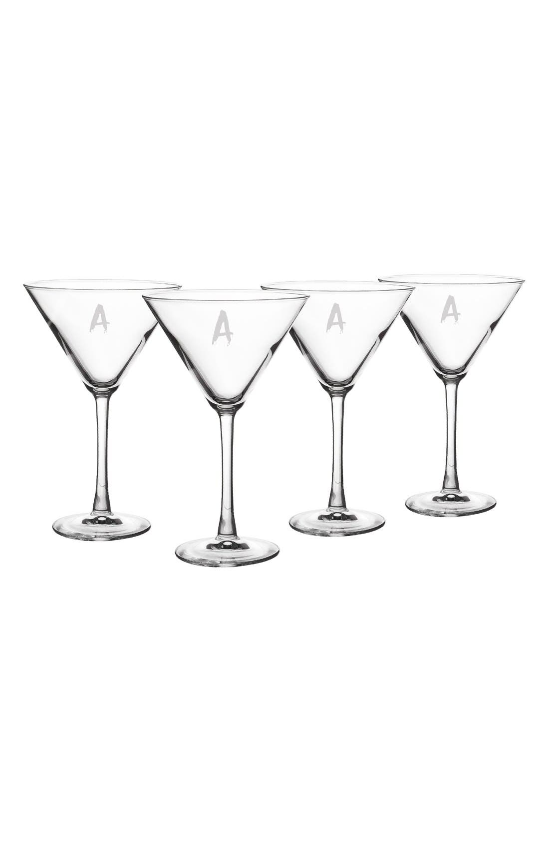 'Spooky' Monogram Martini Glasses,                             Main thumbnail 1, color,                             100