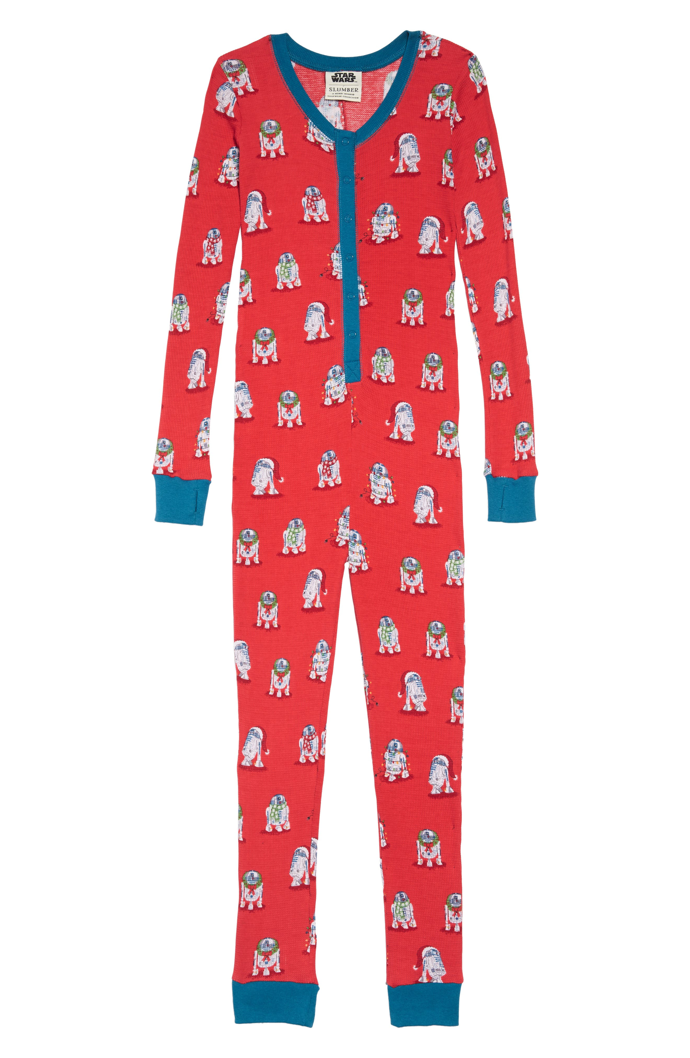 x Star Wars<sup>™</sup> Christmas R2-D2 Fitted One-Piece Pajamas,                             Main thumbnail 1, color,                             600