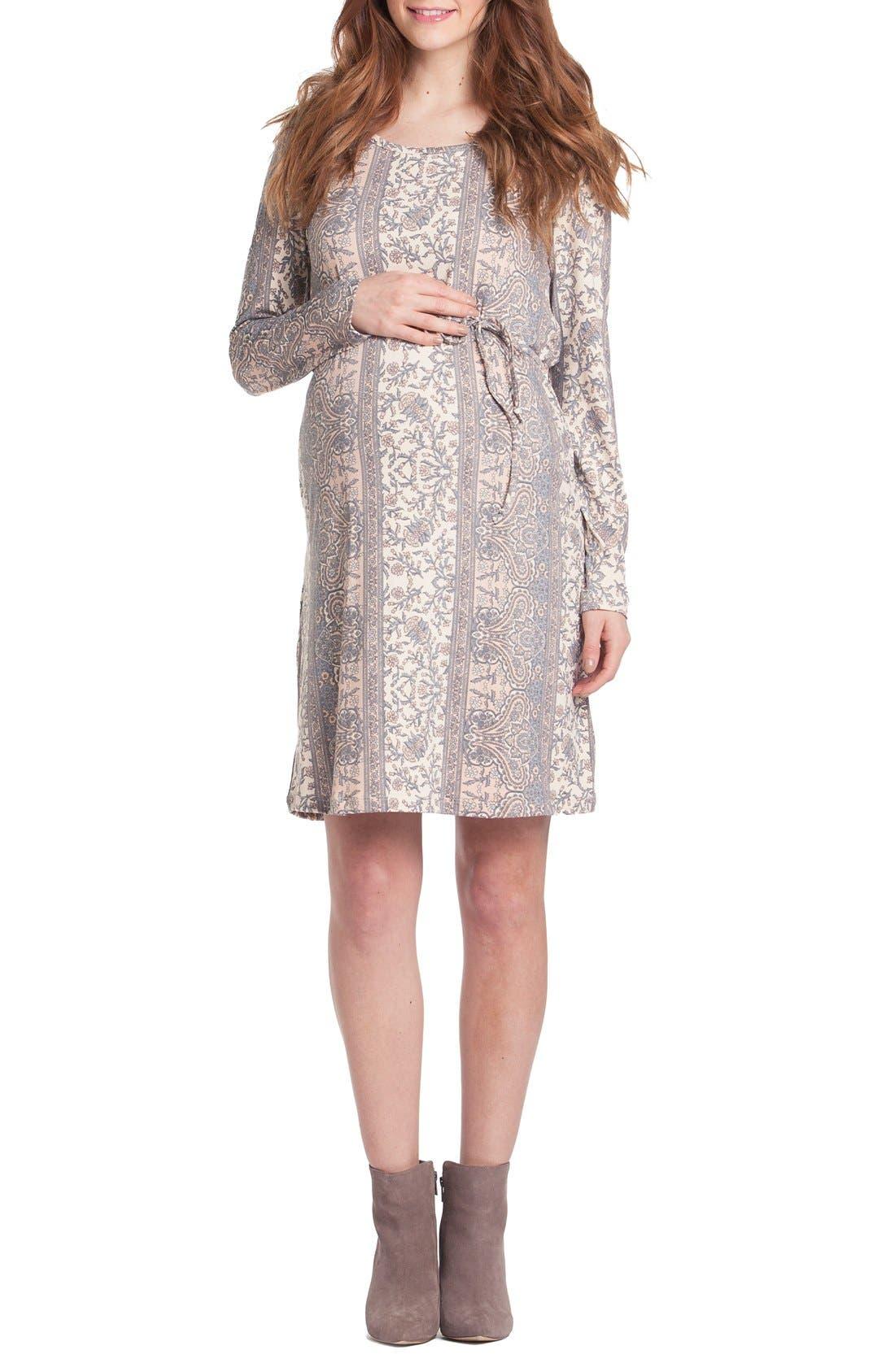Print Maternity Shift Dress,                         Main,                         color, BLUSH/ GREY PAISLEY