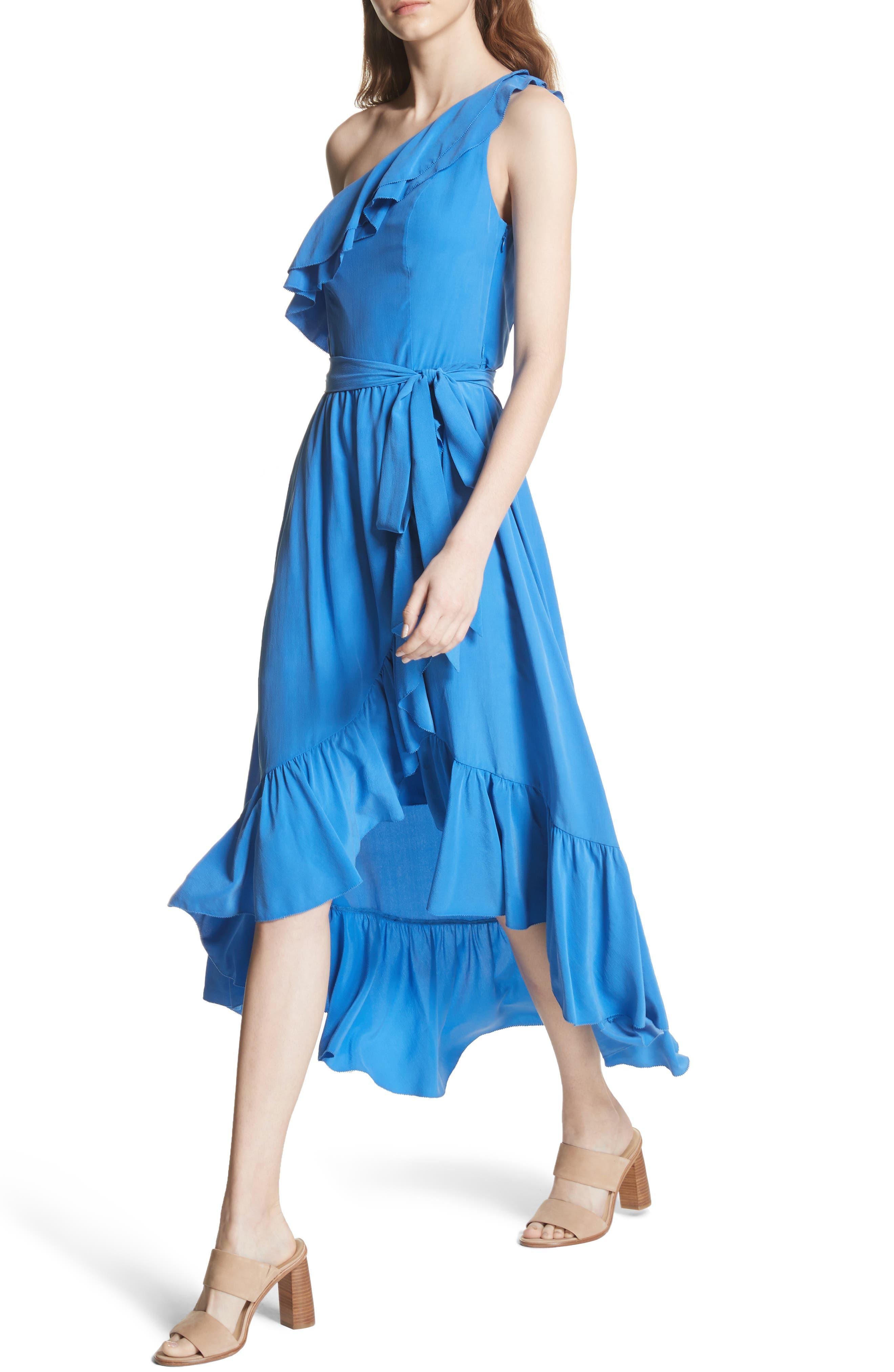 Damica Ruffle One-Shoulder Silk Dress,                             Alternate thumbnail 4, color,                             420