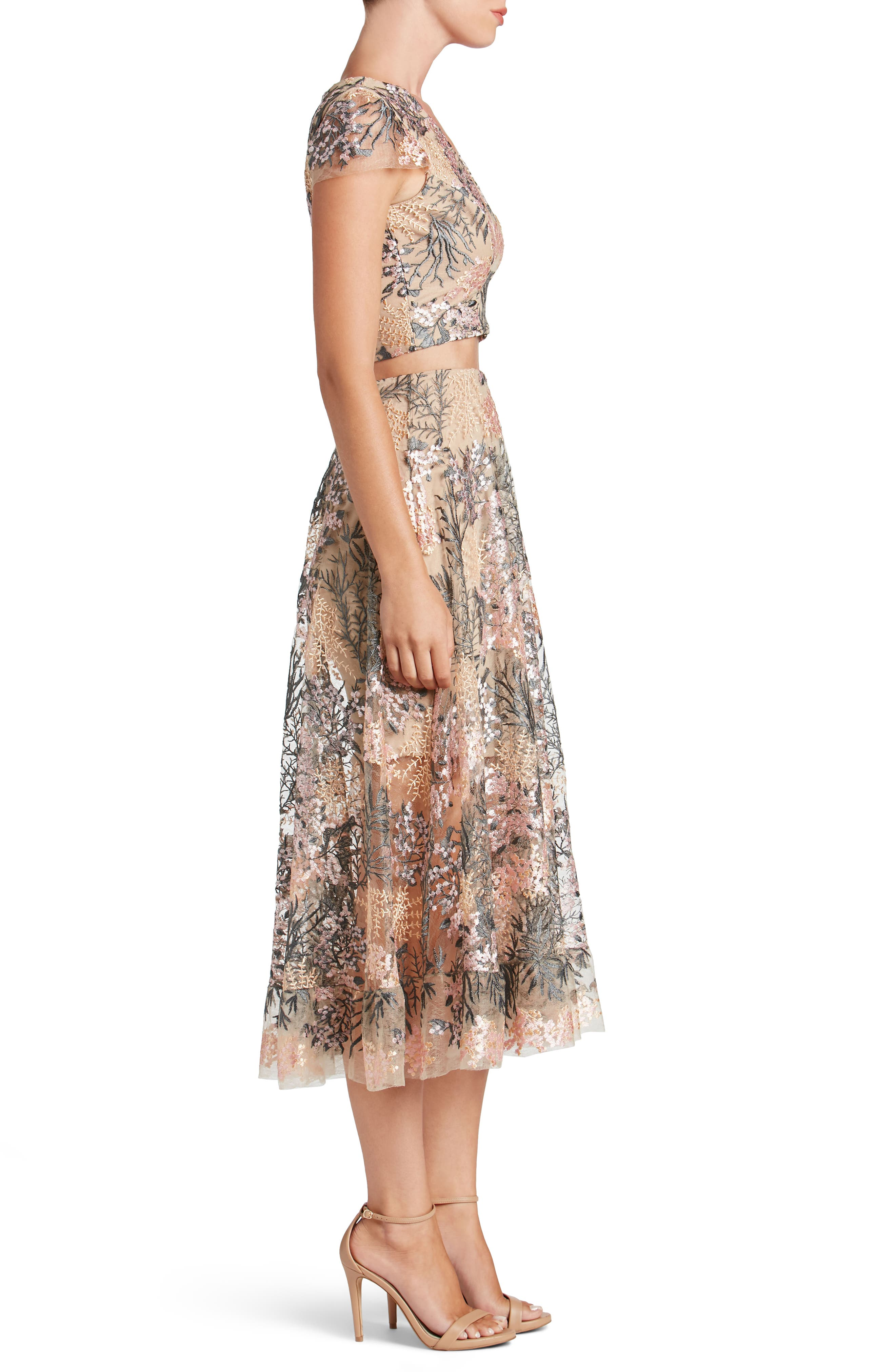 Juliana Embroidered Two-Piece Dress,                             Alternate thumbnail 3, color,                             PINK BLOSSOM